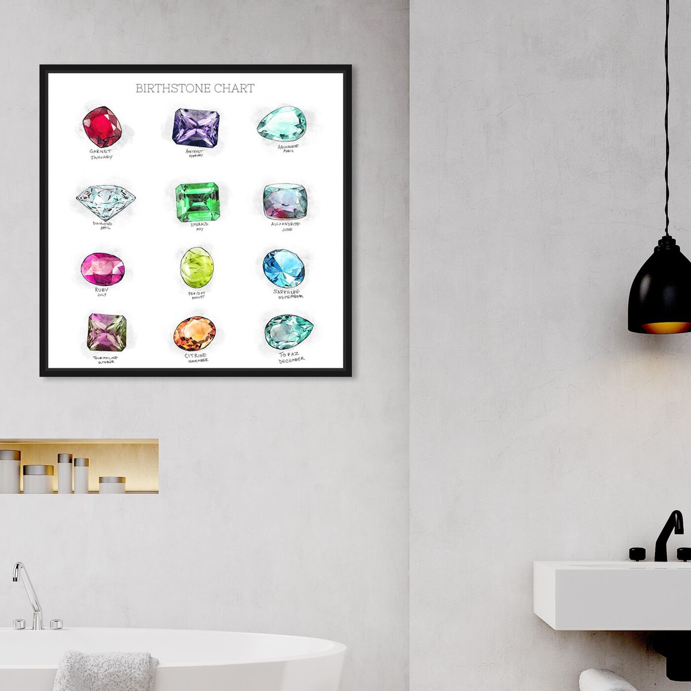 Hanging view of Birthstone Chart featuring fashion and glam and jewelry art.