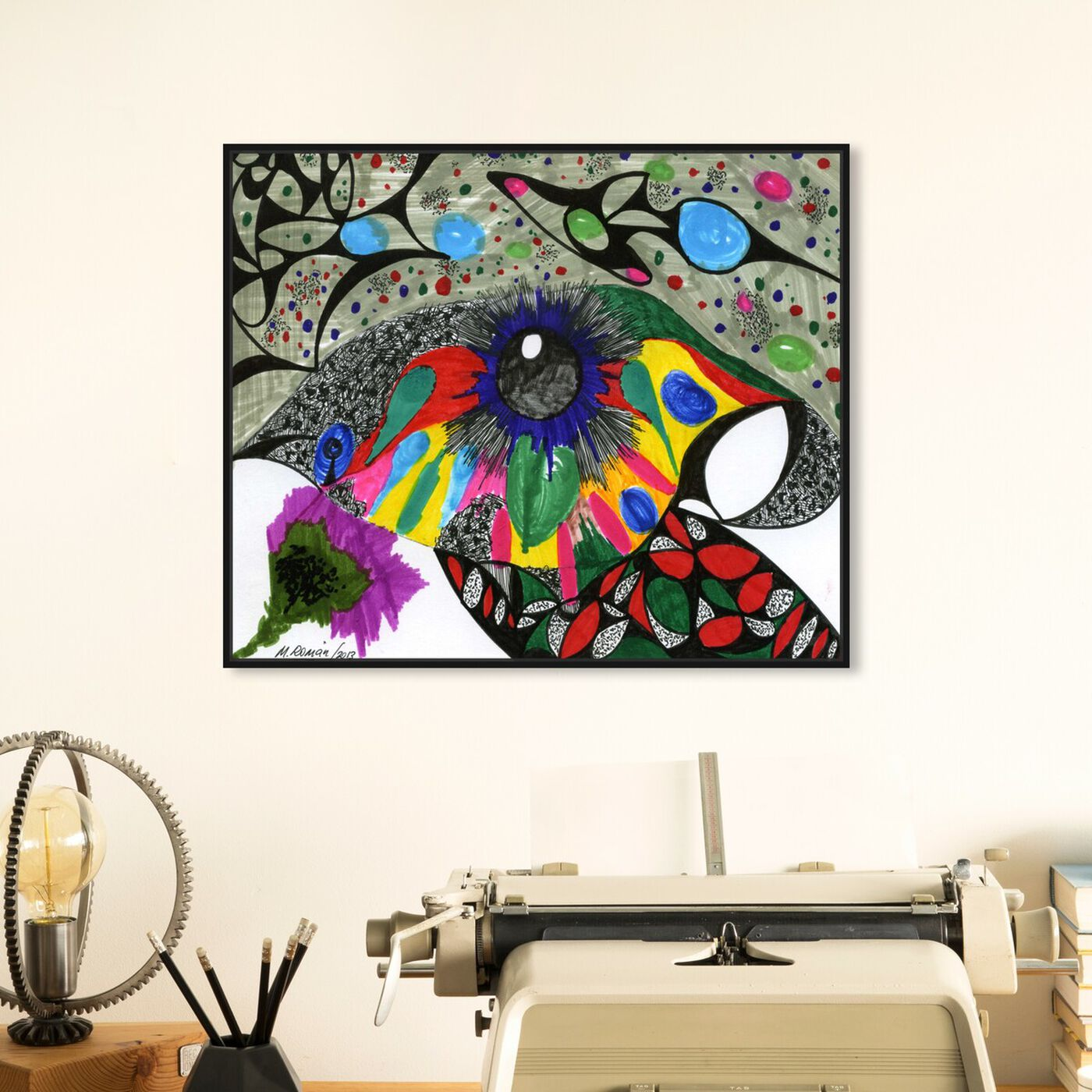 Hanging view of Black Pearl featuring abstract and shapes art.