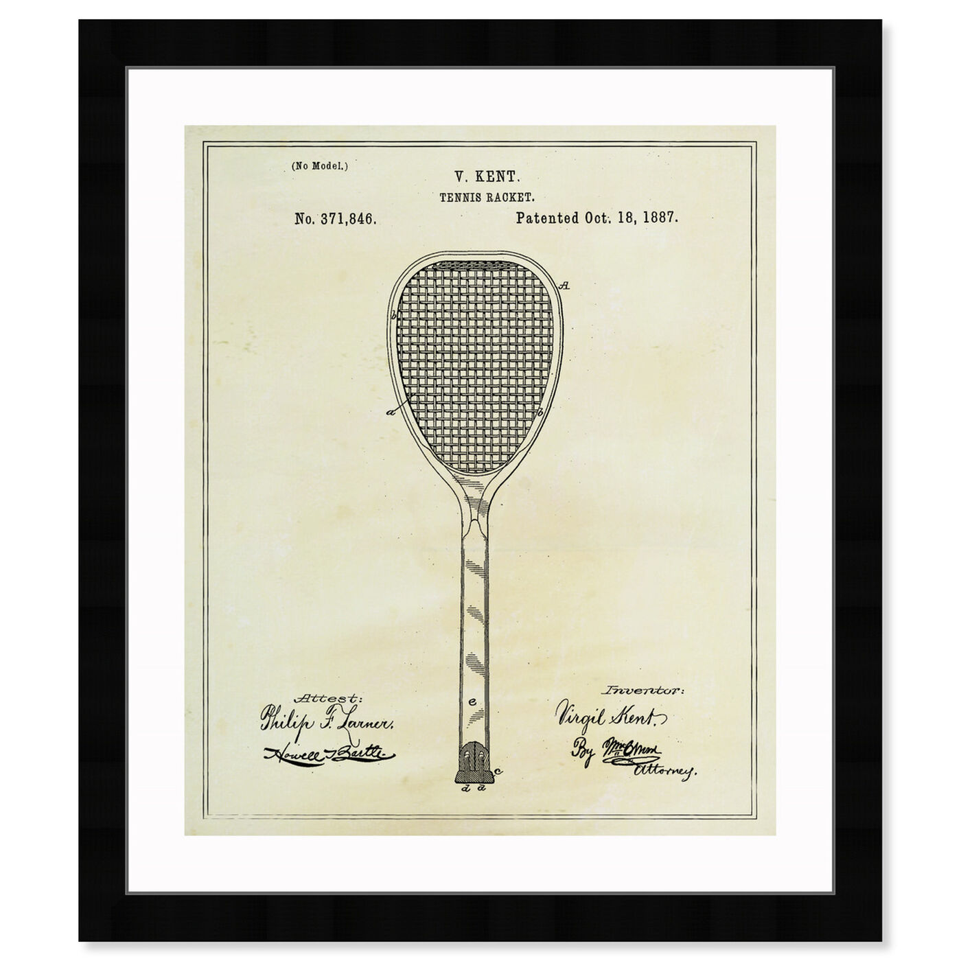 Front view of Tennis Racket 1887 featuring sports and teams and tennis art.