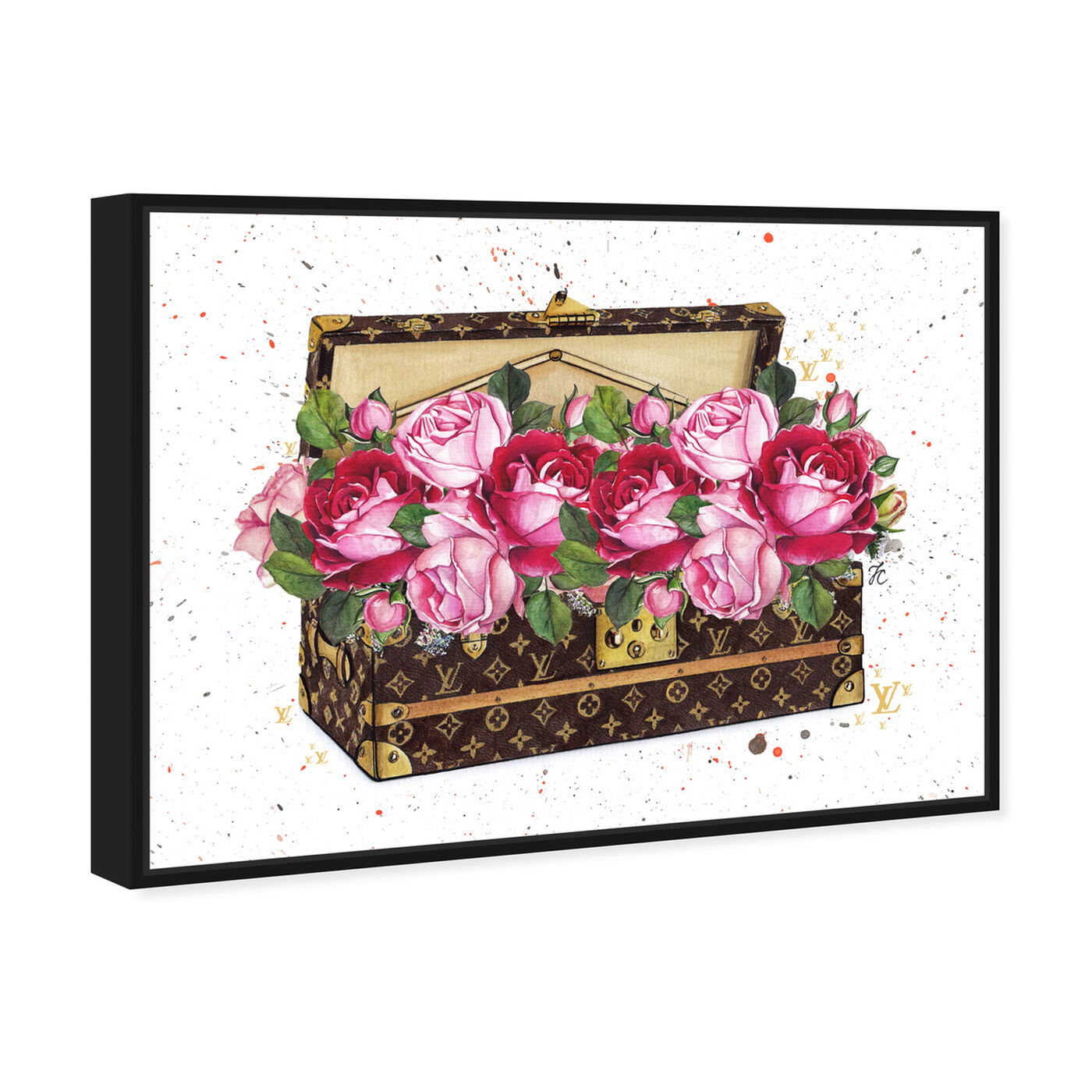 Angled view of Doll Memories - Floral Trunk featuring floral and botanical and florals art.
