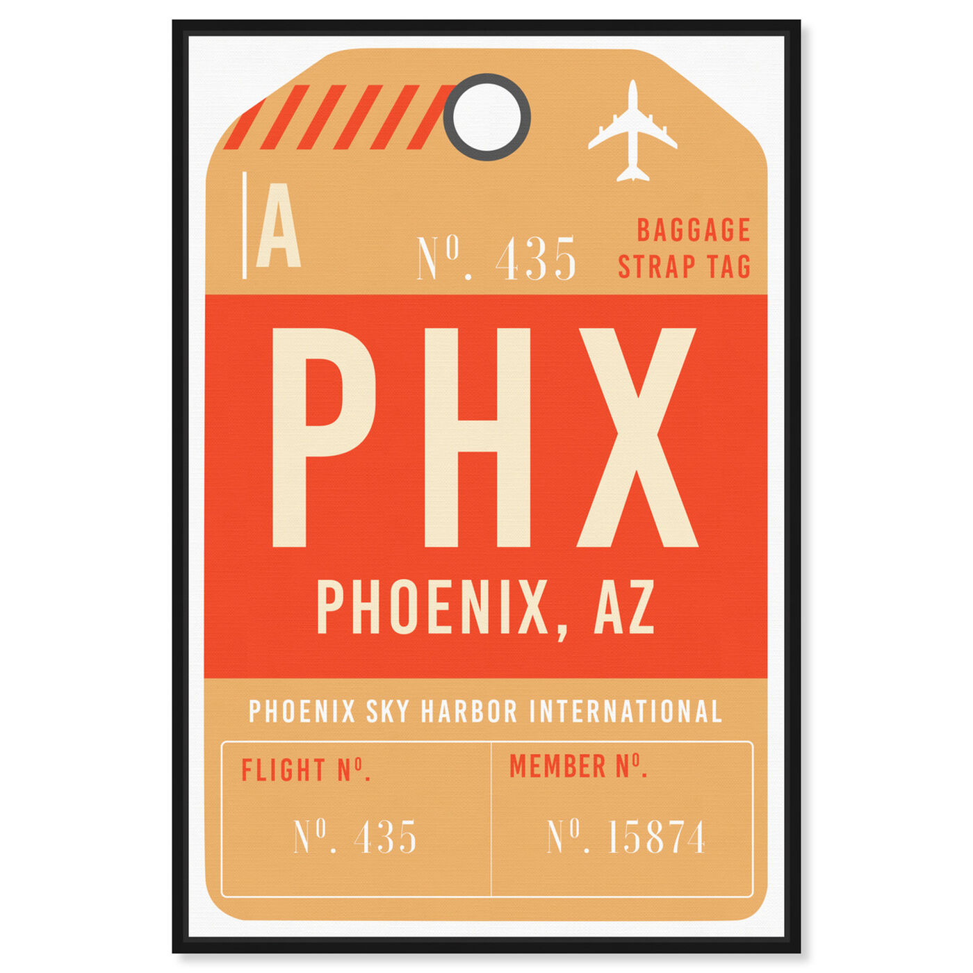 Front view of Phoenix Luggage Tag featuring cities and skylines and united states cities art.