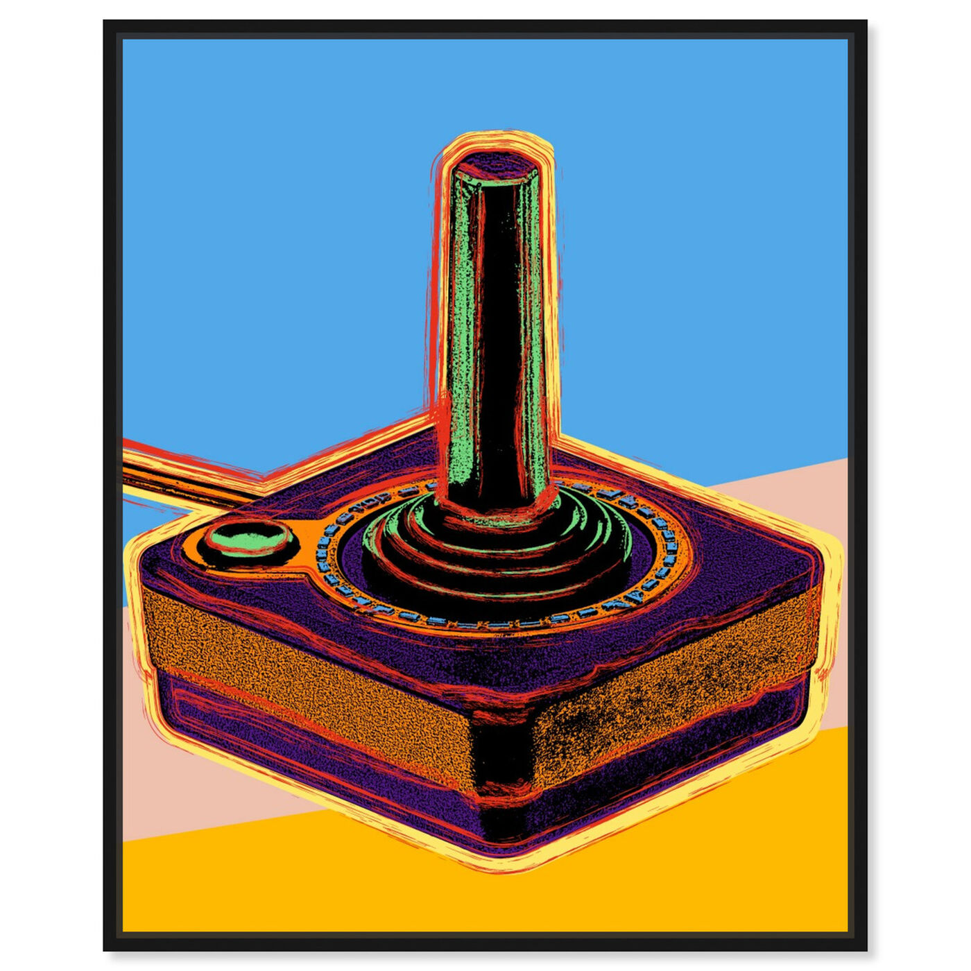 Front view of Warhol style Joystick featuring entertainment and hobbies and video games art.