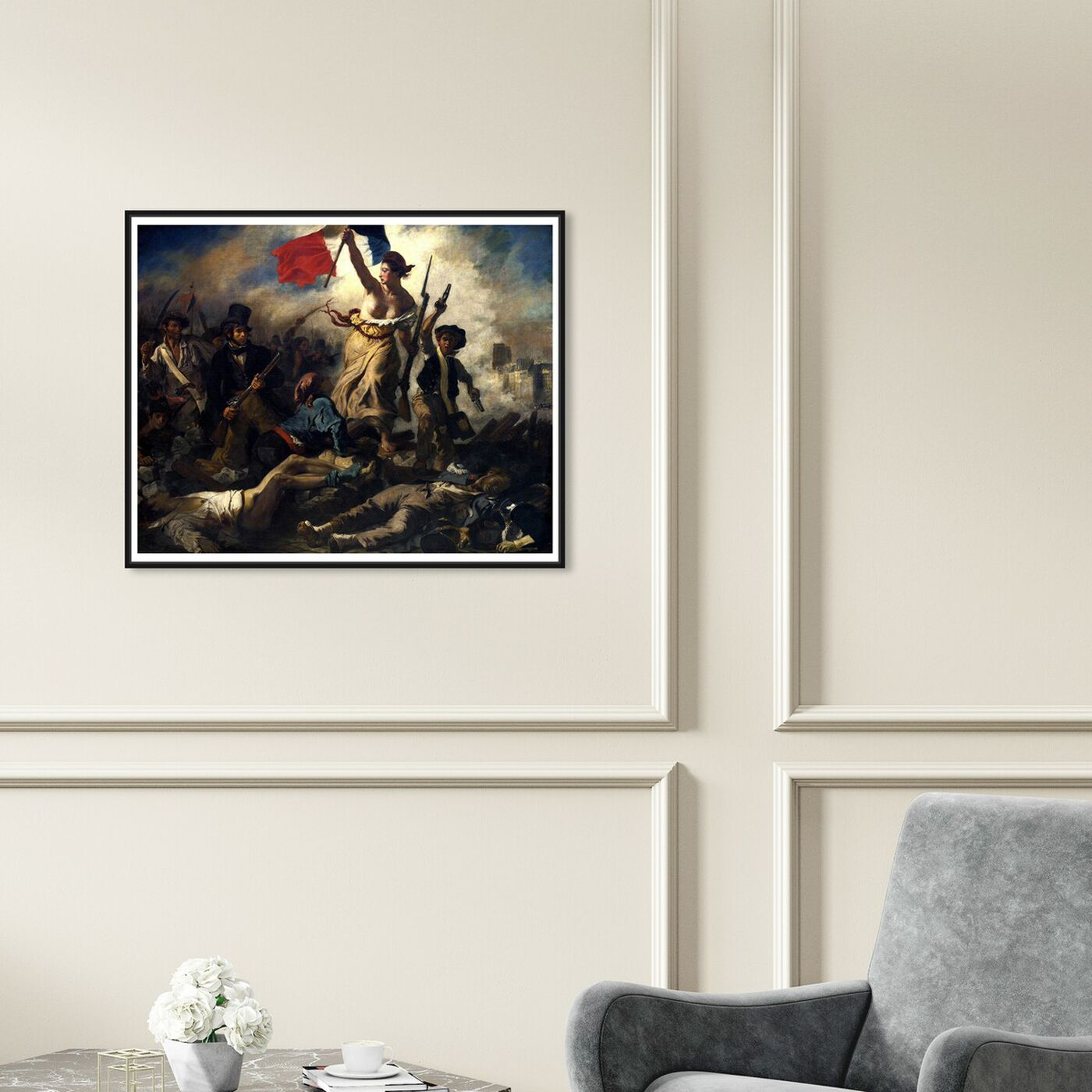 Hanging view of Delacroix - La Liberte Guidant Le Peuple featuring classic and figurative and classical figures art.