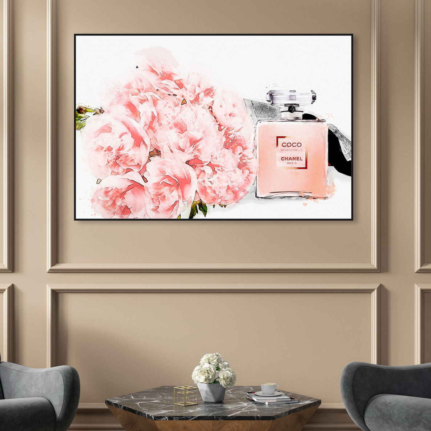 Hanging view of Flowers and Perfume featuring fashion and glam and perfumes art.