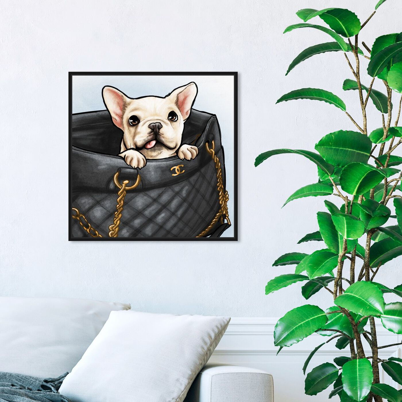 Hanging view of Peek a Boo Frenchie featuring fashion and glam and handbags art.