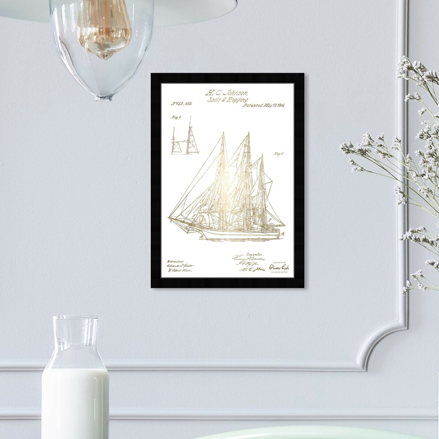 Hanging view of Sail And Rigging 1864 II featuring transportation and boats and yachts art.