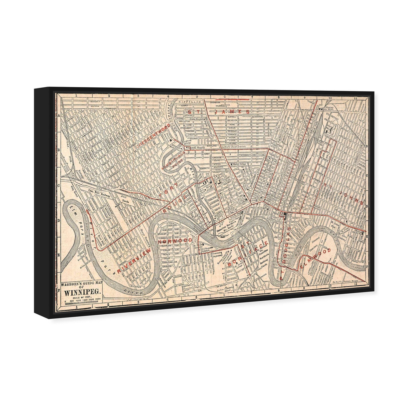 Angled view of Winnipeg Street Map 1911 featuring cities and skylines and north american cities art.