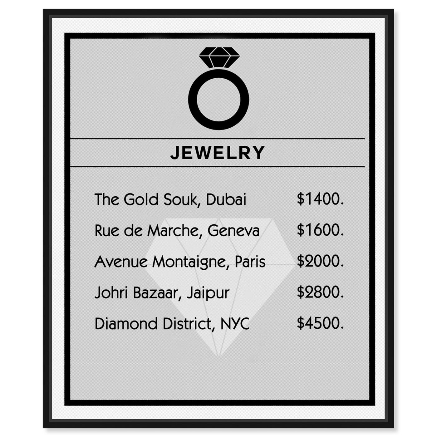 Front view of Jewelry Card featuring entertainment and hobbies and jewelry art.