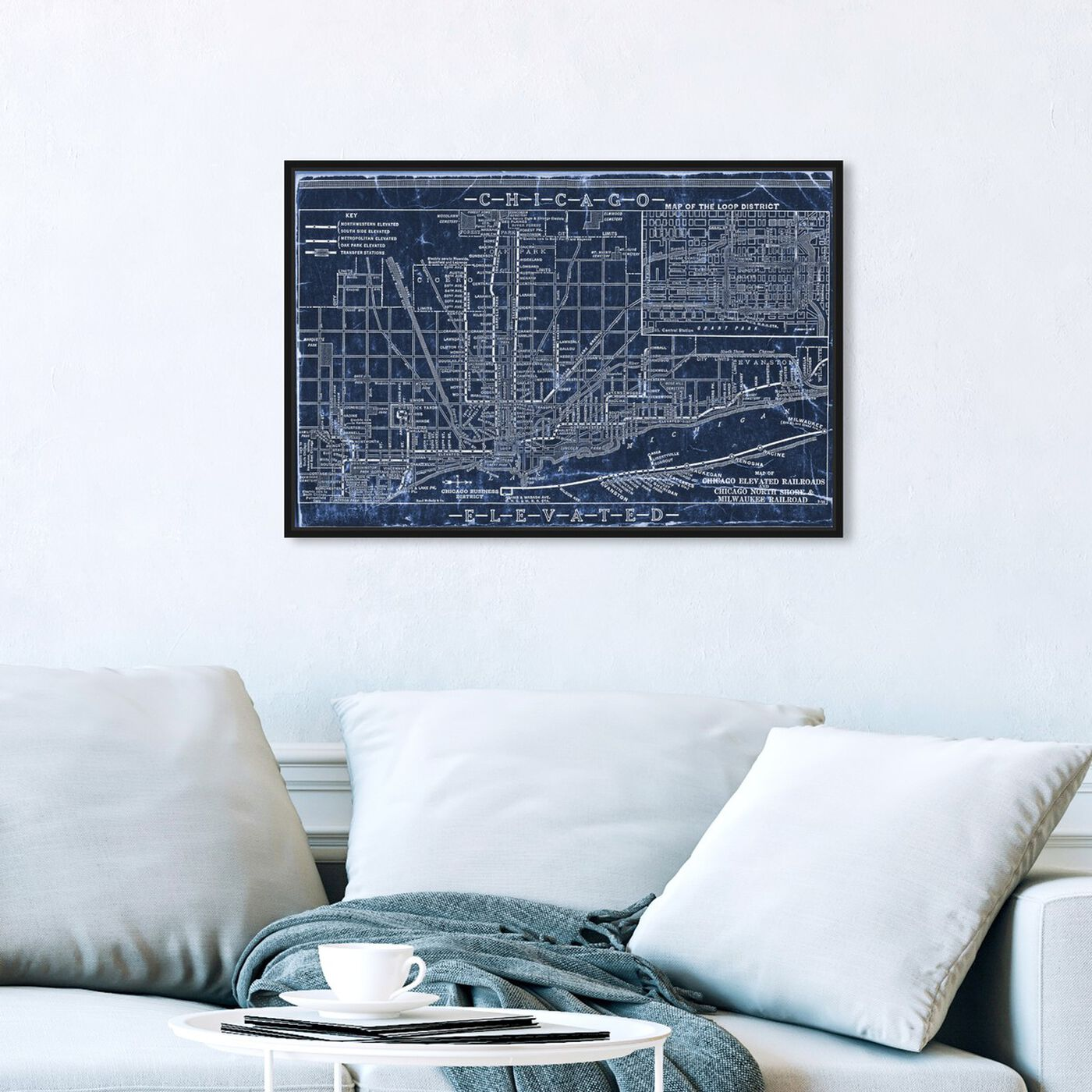 Hanging view of Chicago Railroad Blueprint Map featuring maps and flags and us cities maps art.