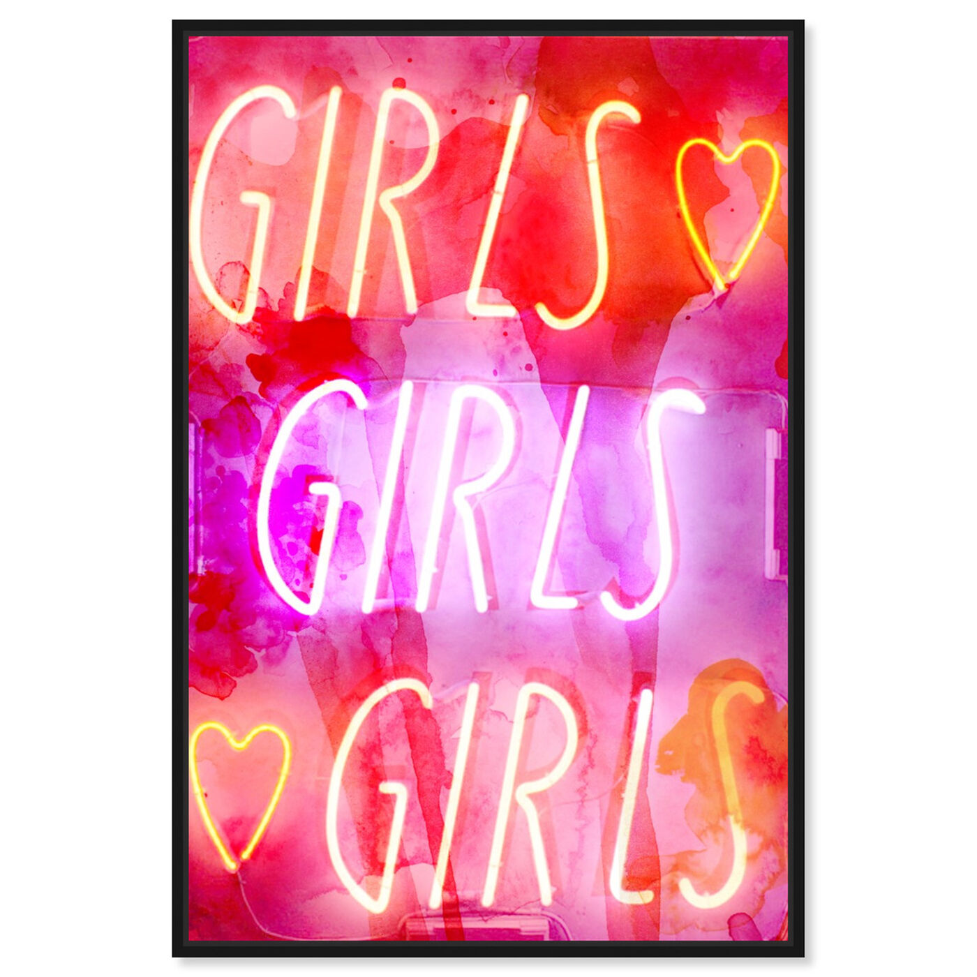 Front view of Girls Girls Girls featuring typography and quotes and quotes and sayings art.