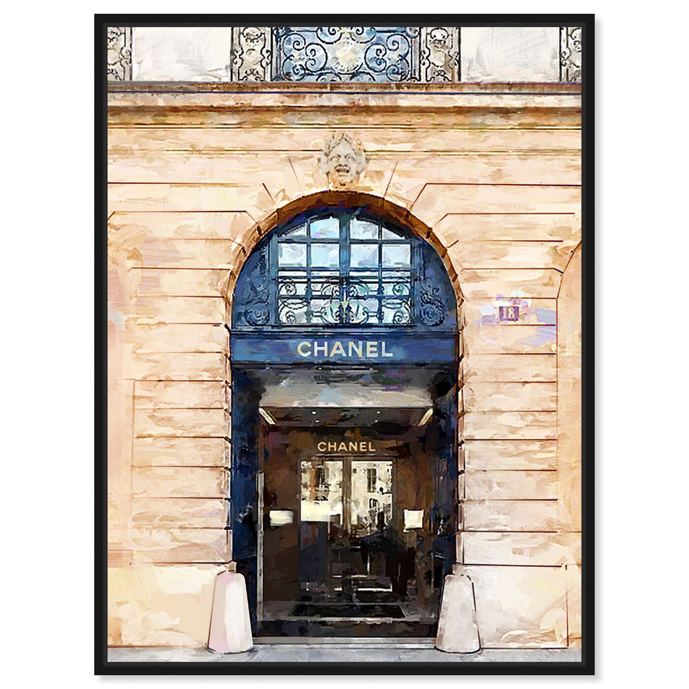 Front view of Rue Cambon Boutique featuring fashion and glam and road signs art.