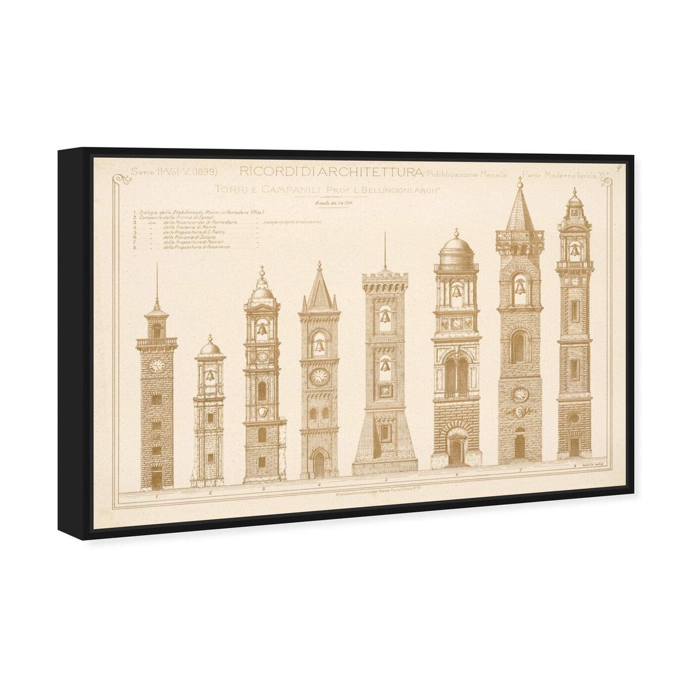 Angled view of Torri e Campanili - The Art Cabinet featuring architecture and buildings and european buildings art.