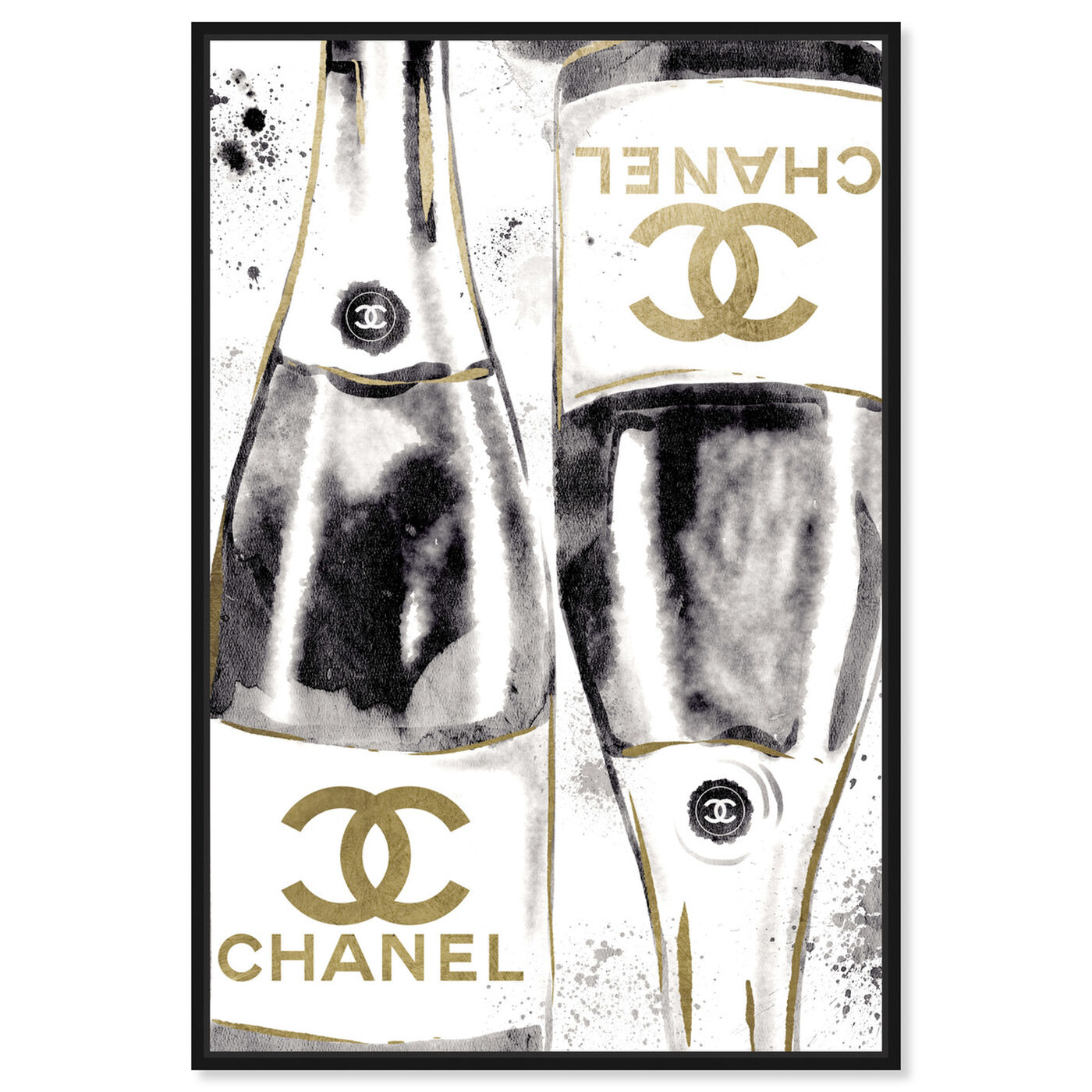 Front view of Inkwash Champagne featuring fashion and glam and lifestyle art.