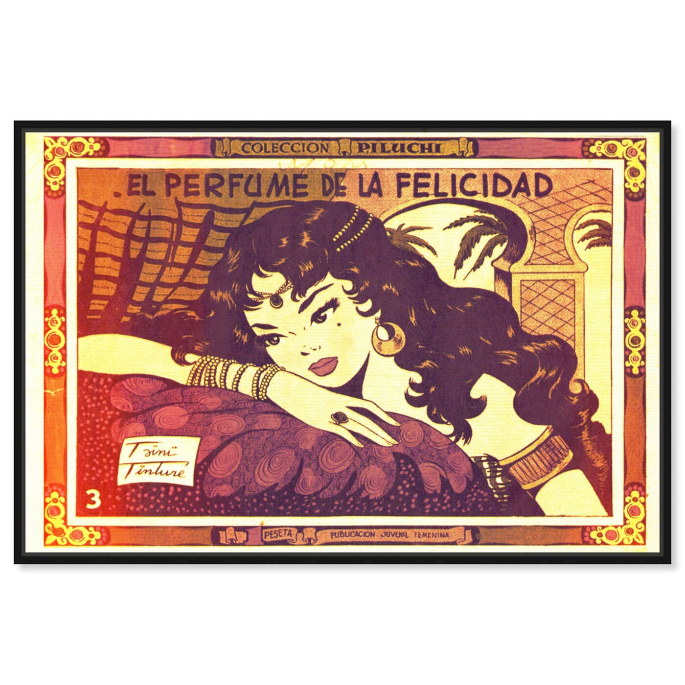 Front view of Felicidad featuring advertising and comics art.