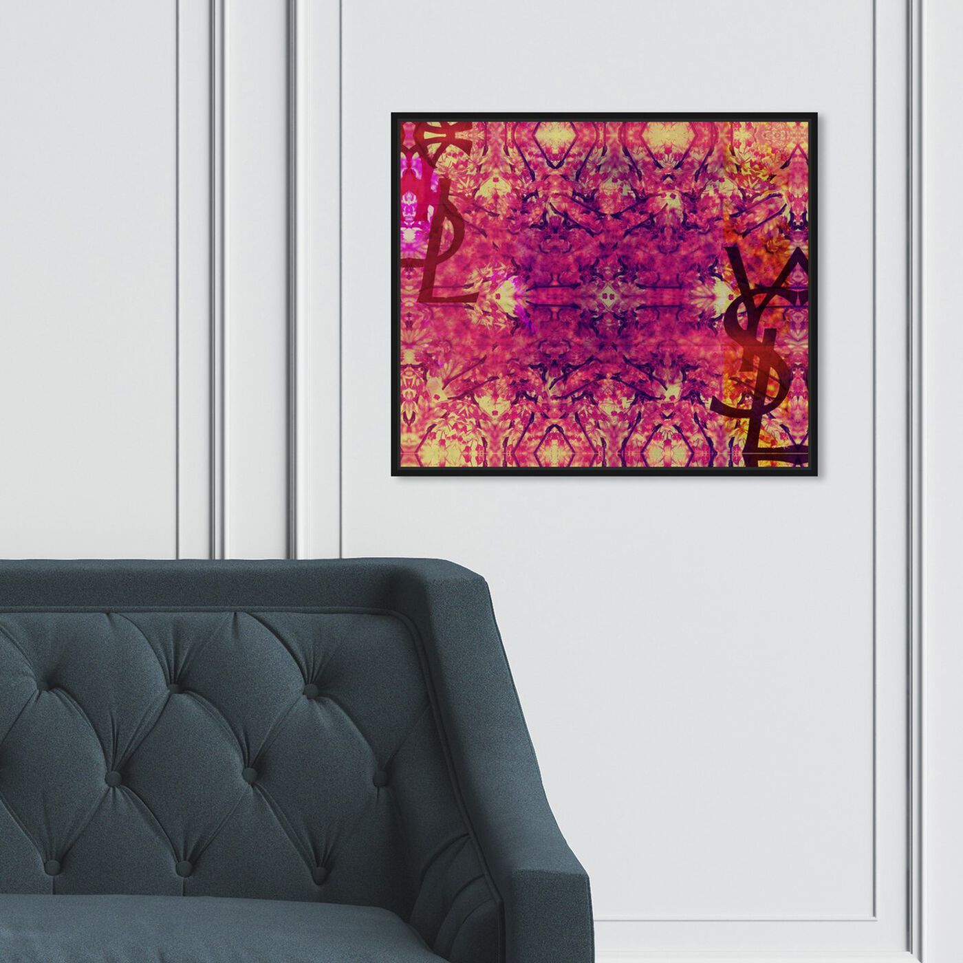 Hanging view of Jardin Majorelle Pink featuring abstract and patterns art.