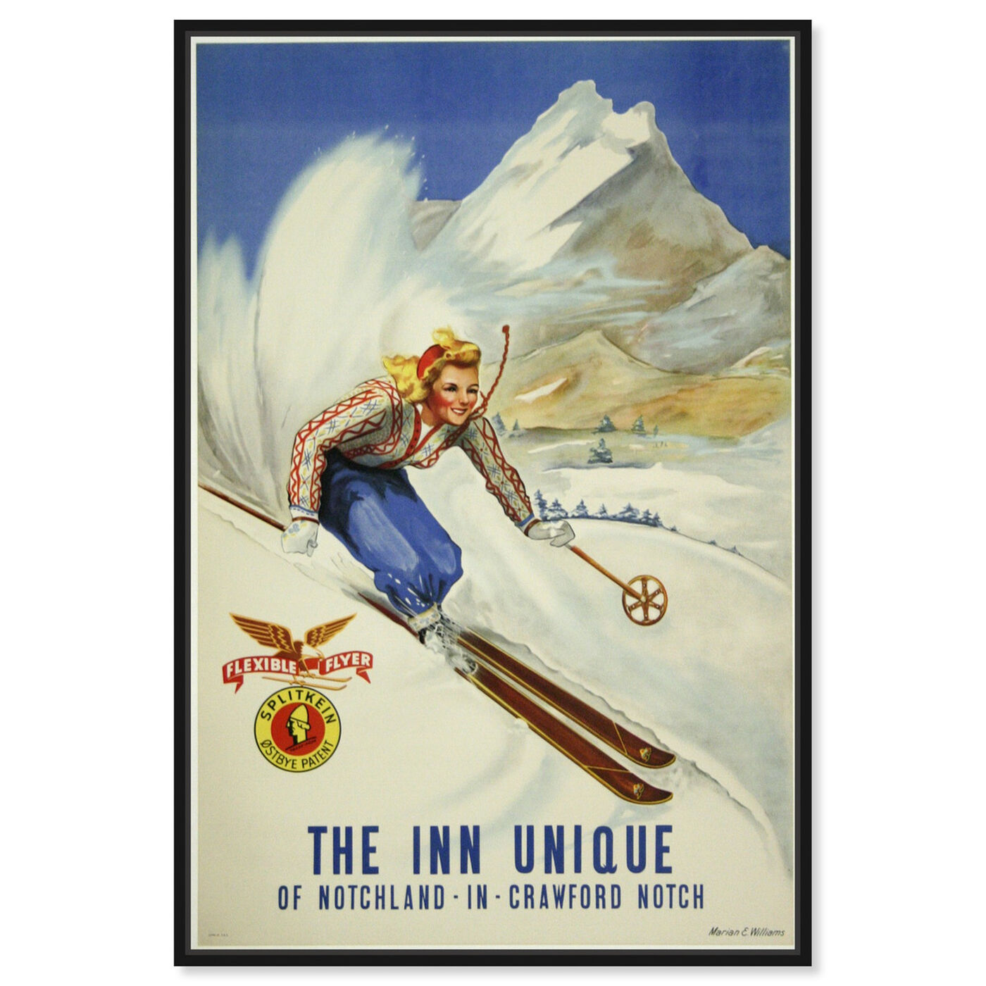 Front view of The Inn Unique featuring sports and teams and skiing art.