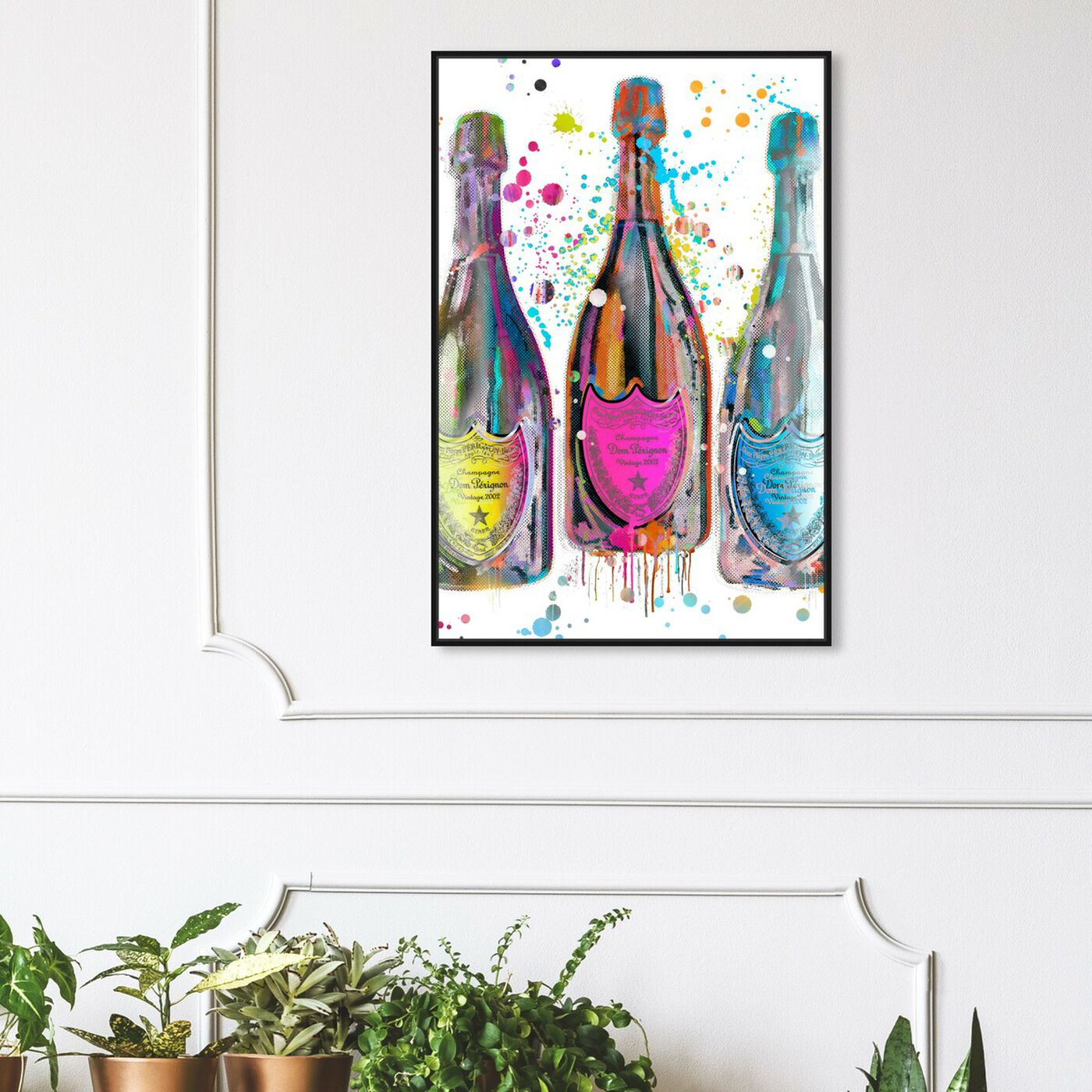 Hanging view of Dom P Trio Color featuring drinks and spirits and champagne art.