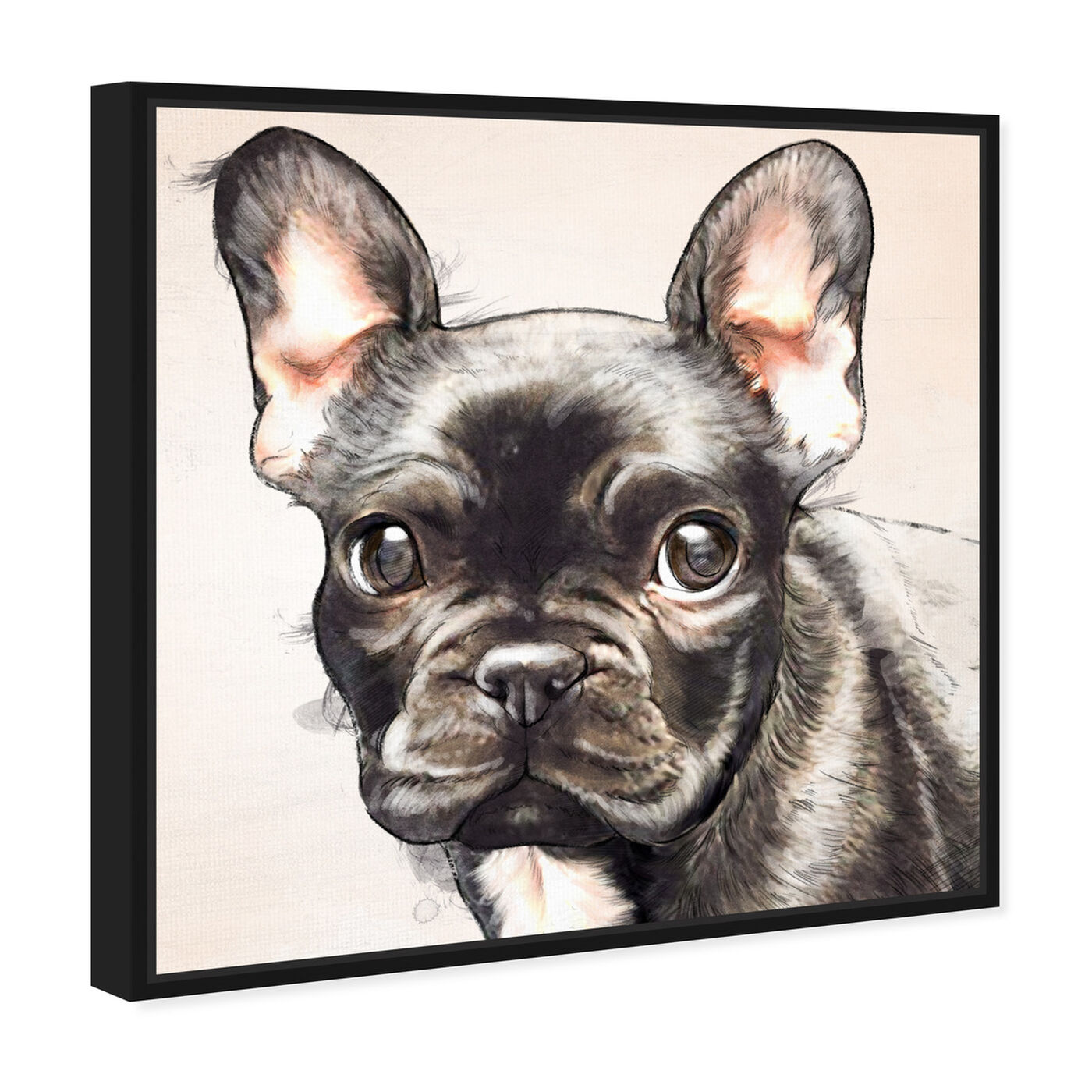 Angled view of Frenchie Watercolor Black featuring animals and dogs and puppies art.