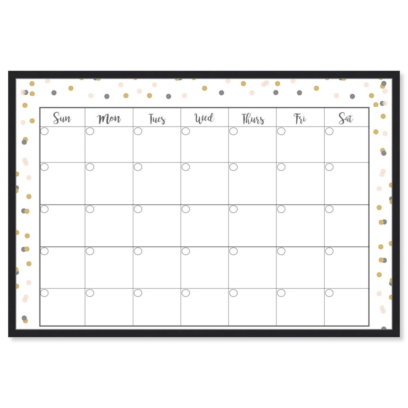 Front view of Confetti Calender featuring education and office and educational charts art.