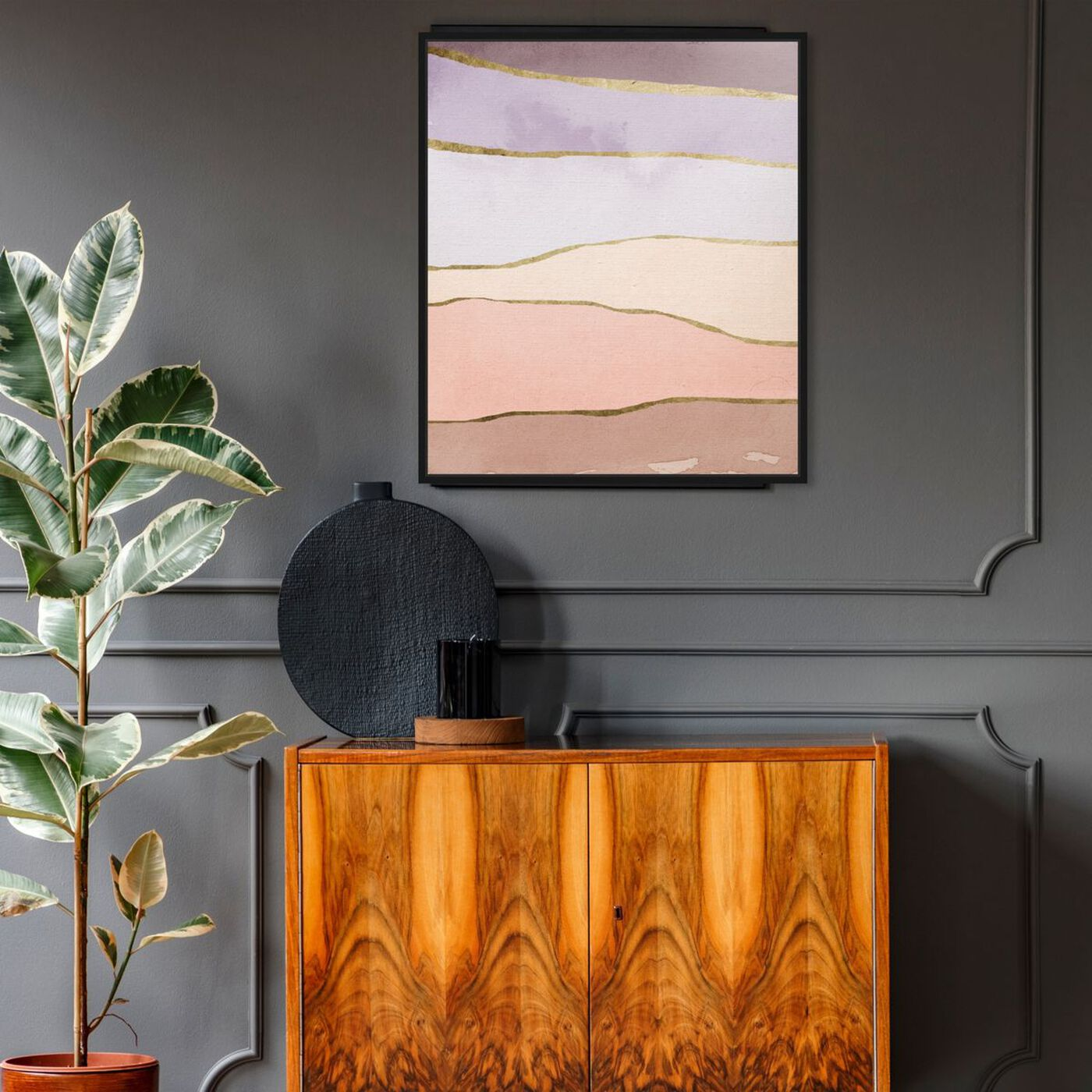 Hanging view of Light Layers featuring abstract and watercolor art.