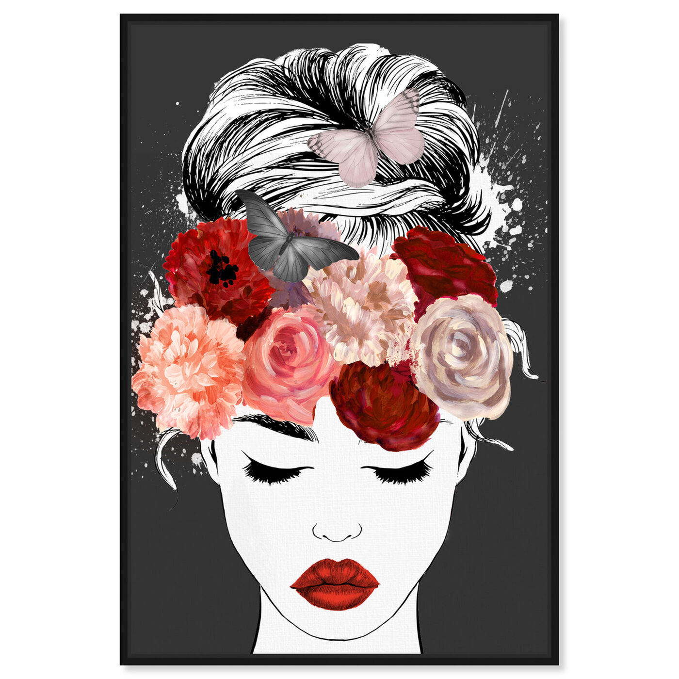 Front view of Butterflies in My Head Red featuring animals and insects art.