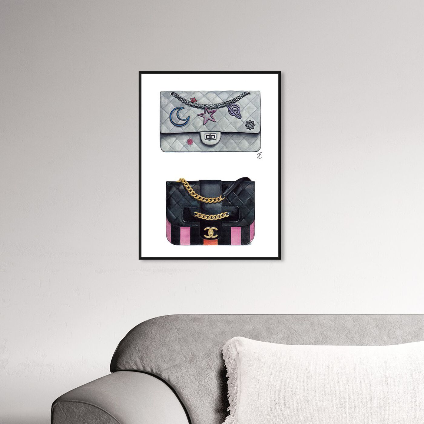 Hanging view of Doll Memories - Iconic Bag Beauty featuring fashion and glam and handbags art.