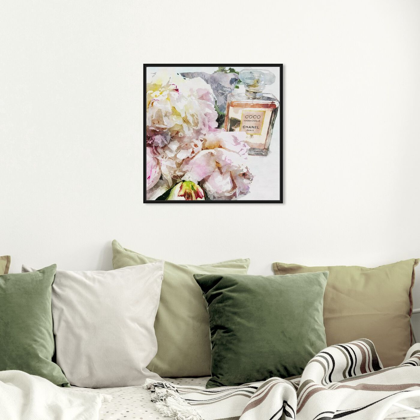 Hanging view of Peonies and Coco Dark featuring floral and botanical and florals art.