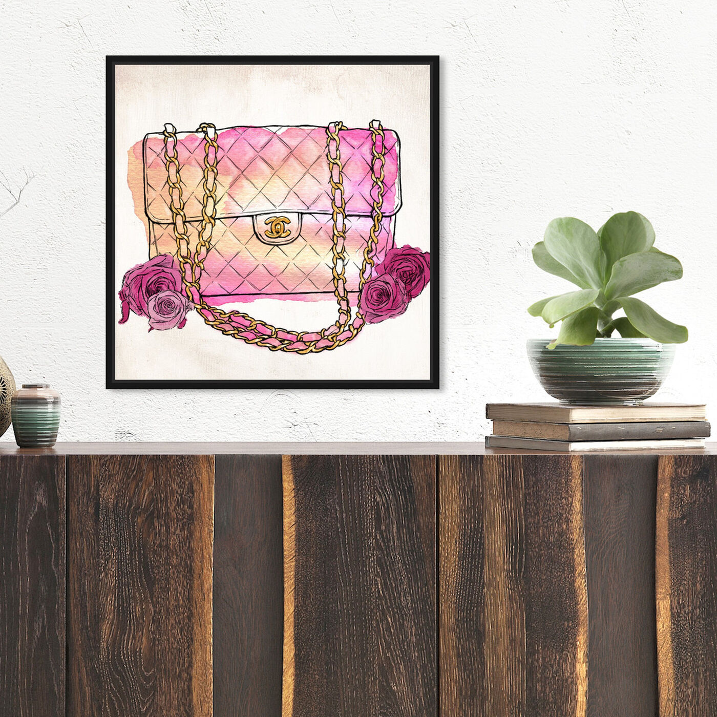 Hanging view of Love at First Quilt featuring fashion and glam and handbags art.