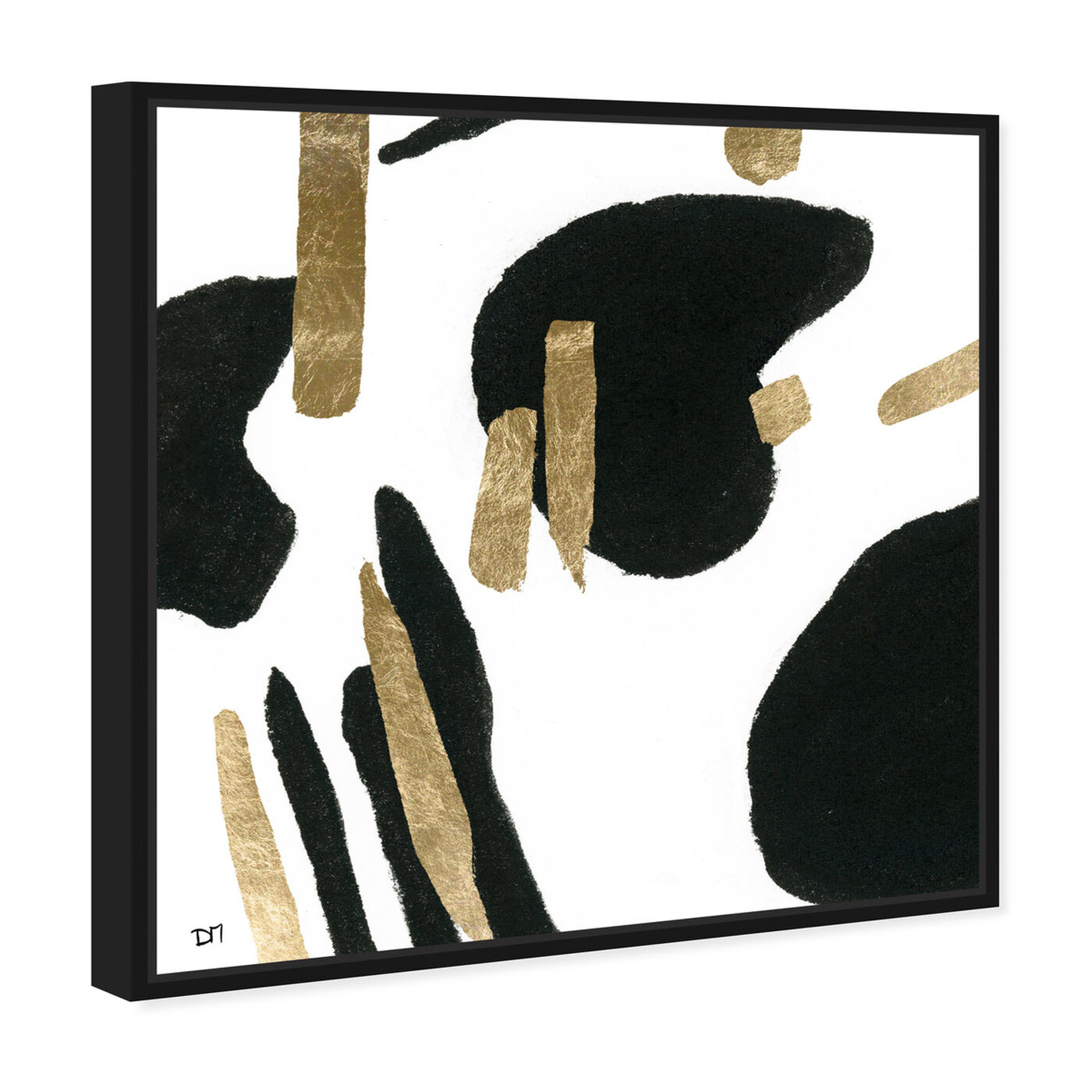 Angled view of Bigger Gold featuring abstract and paint art.