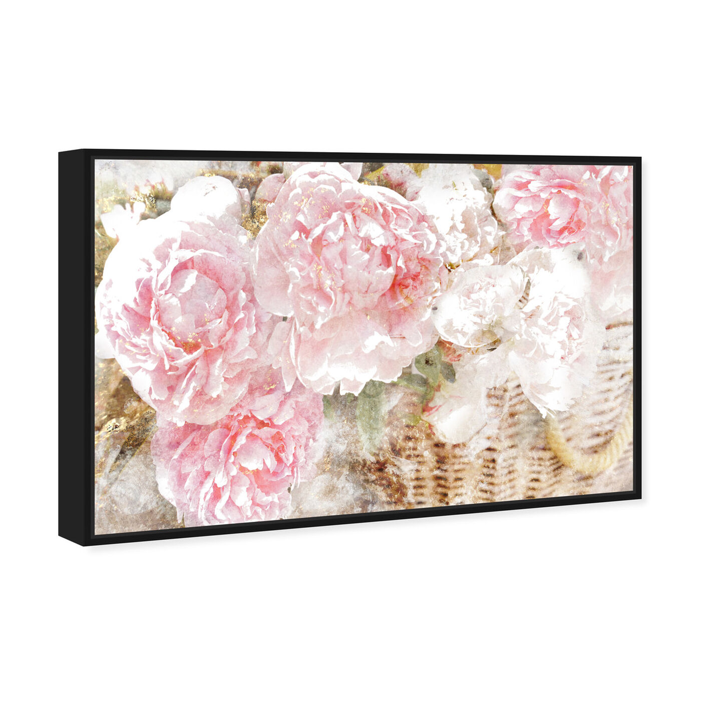 Angled view of Basket O' Roses featuring floral and botanical and florals art.