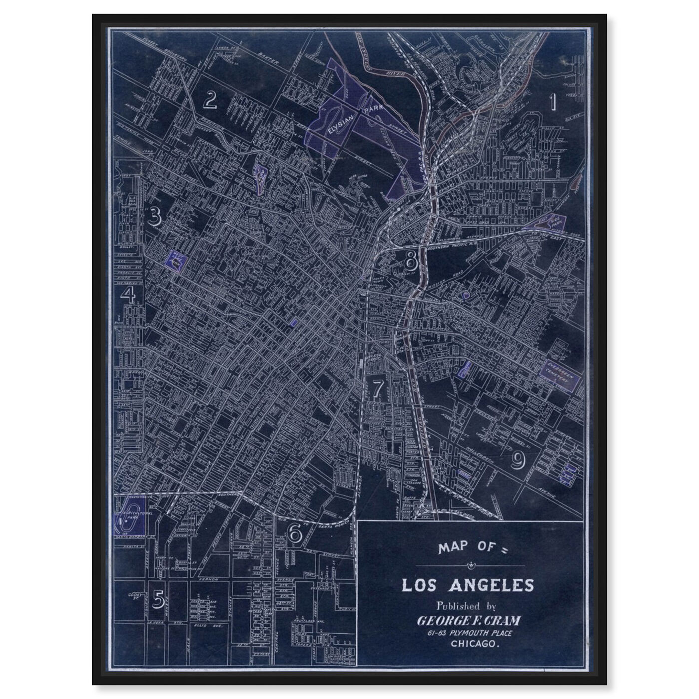 Front view of Los Angeles 1899 featuring maps and flags and us cities maps art.