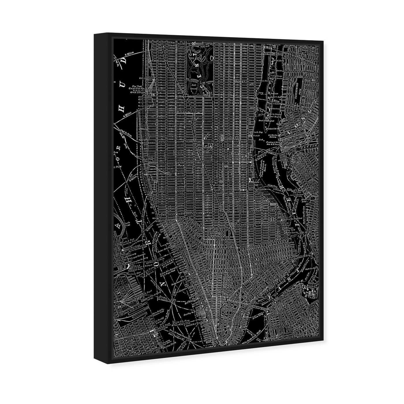 Angled view of Phylum Design The City That Never Sleeps featuring maps and flags and us cities maps art.