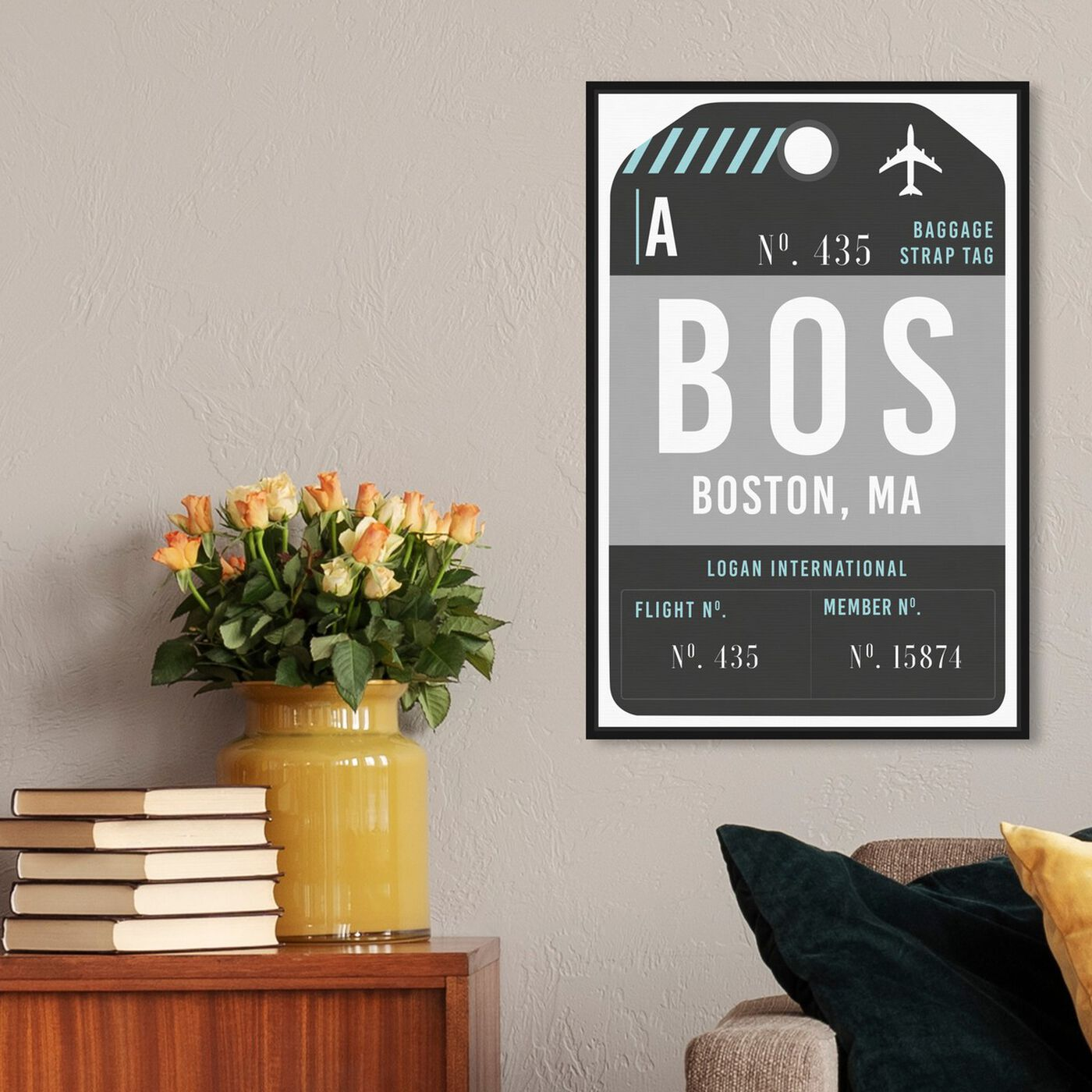 Hanging view of Boston Luggage Tag featuring cities and skylines and united states cities art.