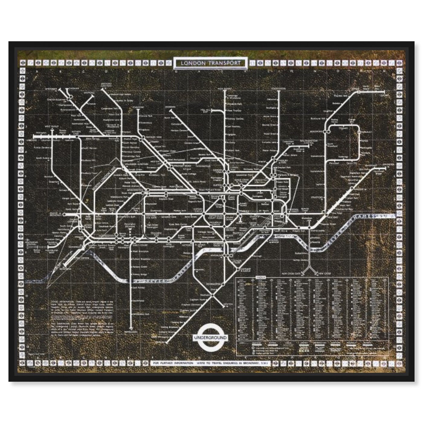 Front view of London Tube 1972 featuring maps and flags and european cities flags art.