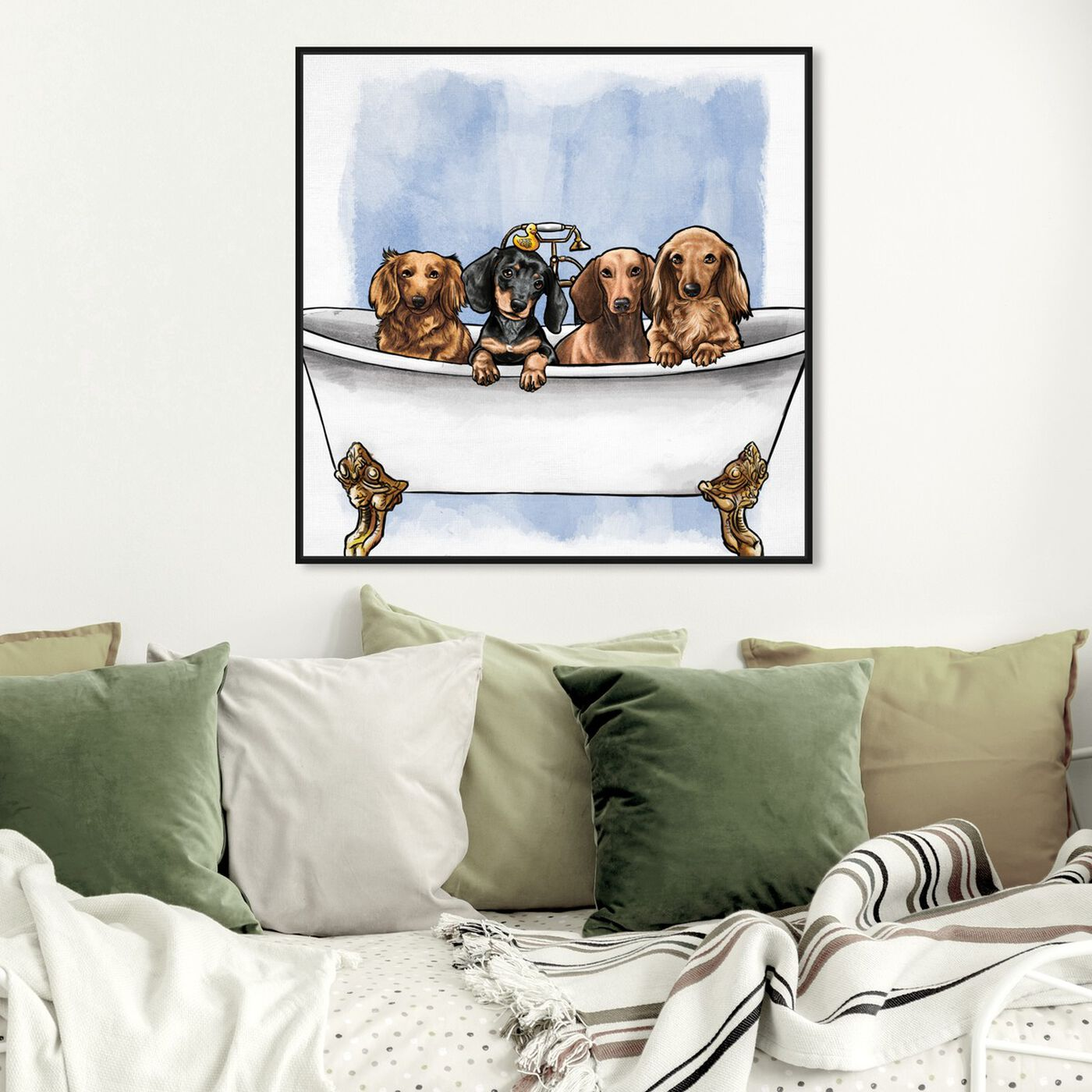 Hanging view of Dachs in The Tub featuring animals and dogs and puppies art.
