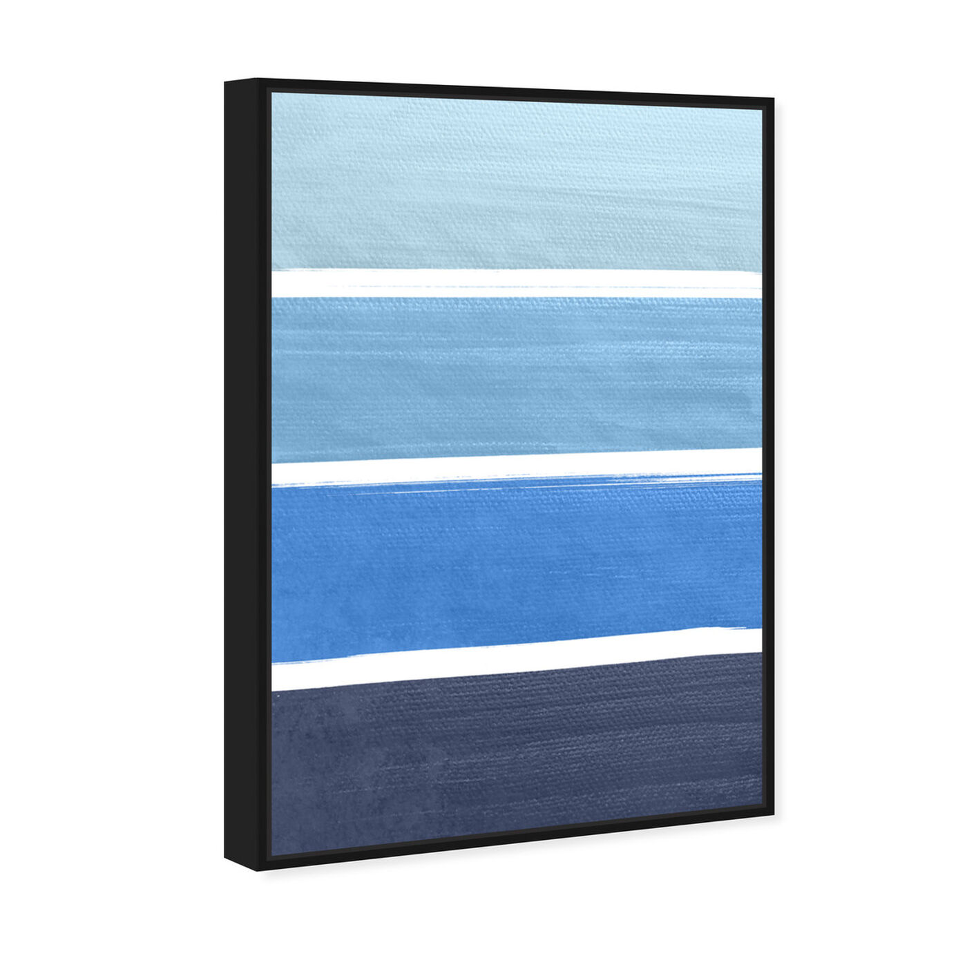Angled view of The Right Shade of Blue featuring abstract and geometric art.