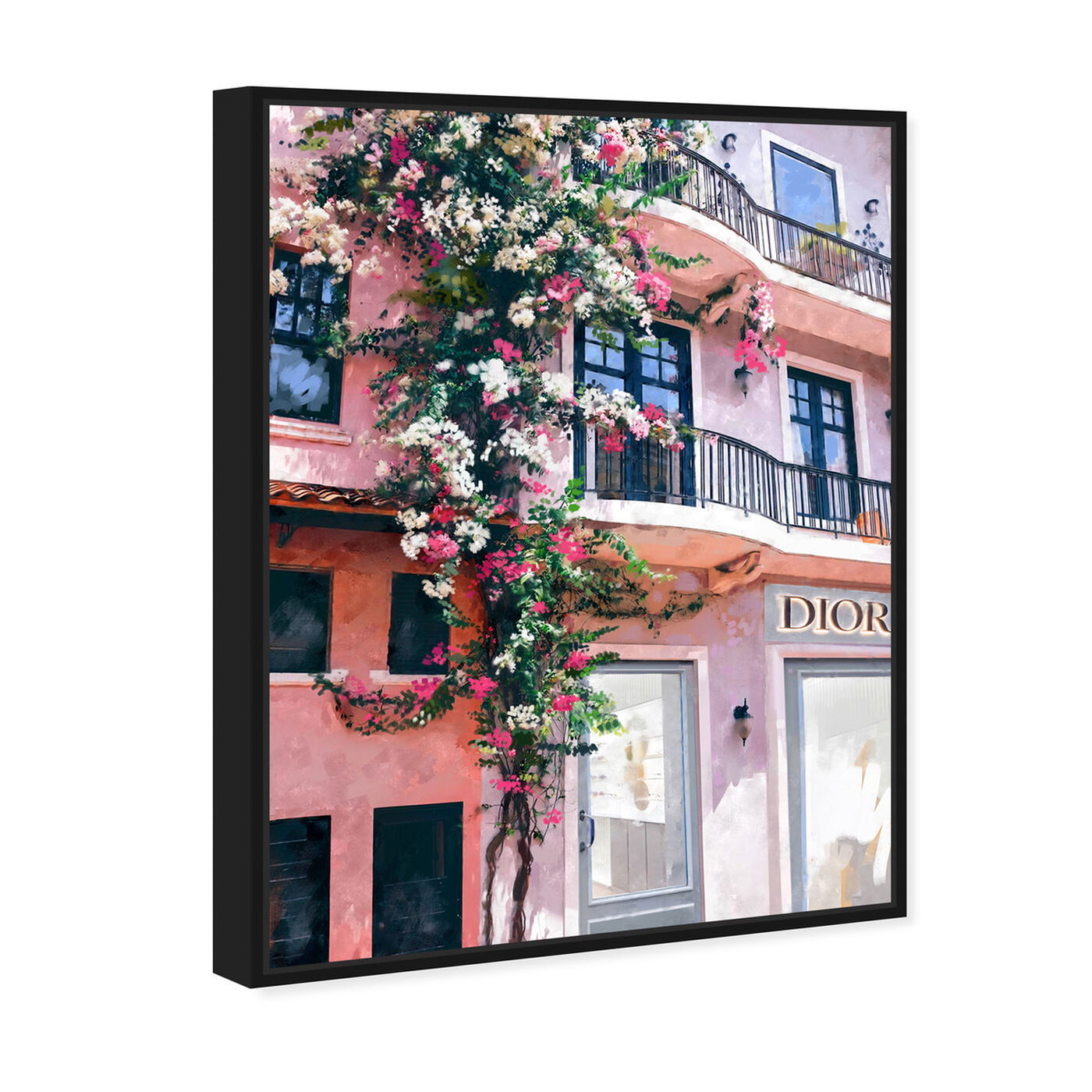 Angled view of French Floral Fashion Boutique featuring fashion and glam and road signs art.