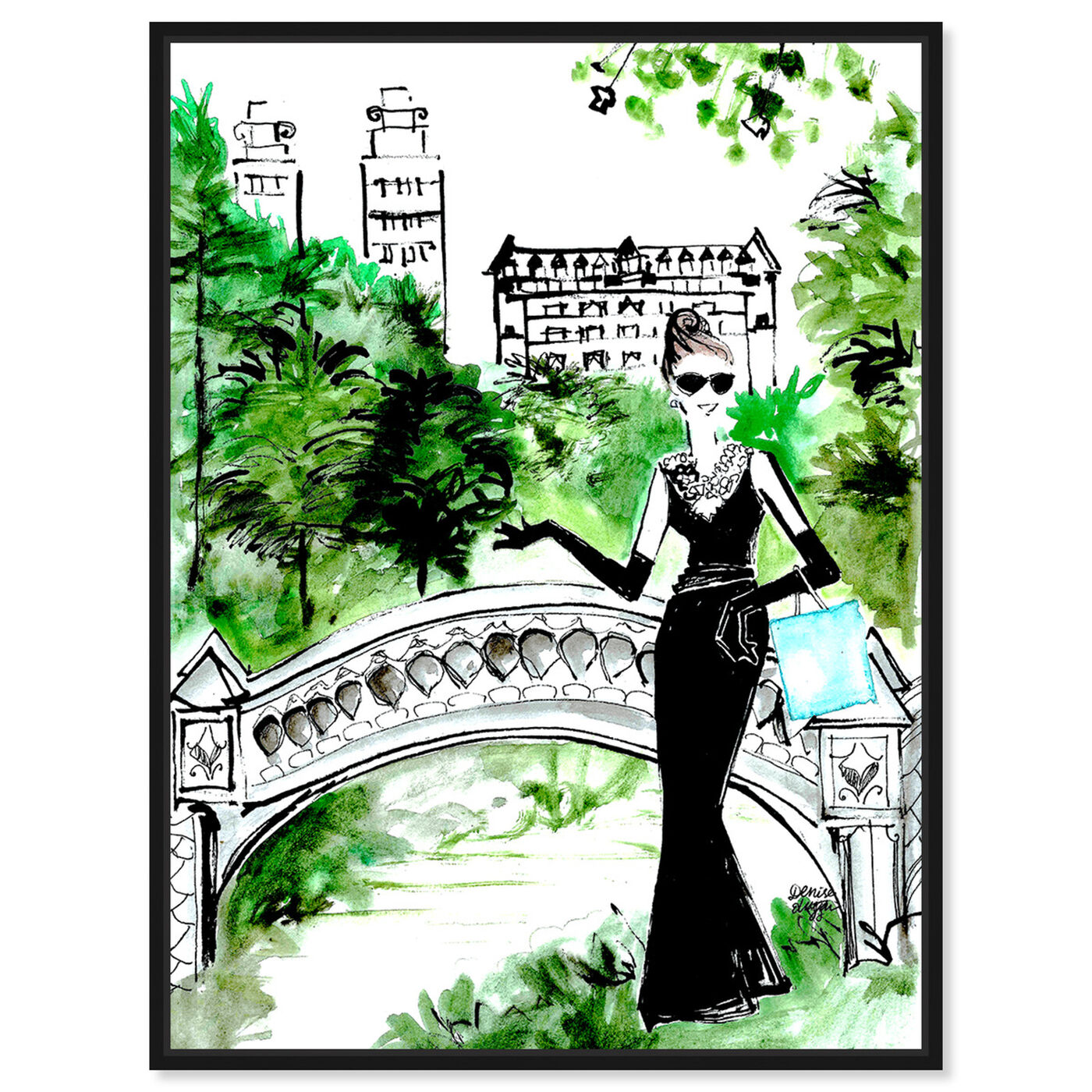 Front view of Denise Elnajjar - Breakfast At Central Park featuring fashion and glam and dress art.