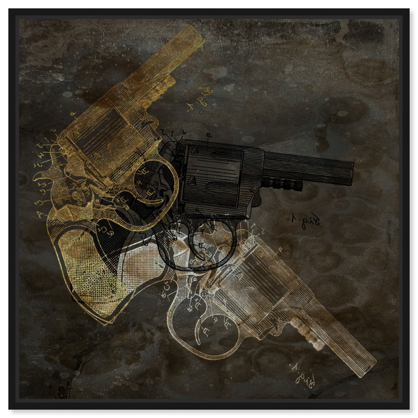 Front view of Gold Revolver featuring entertainment and hobbies and machine guns art.