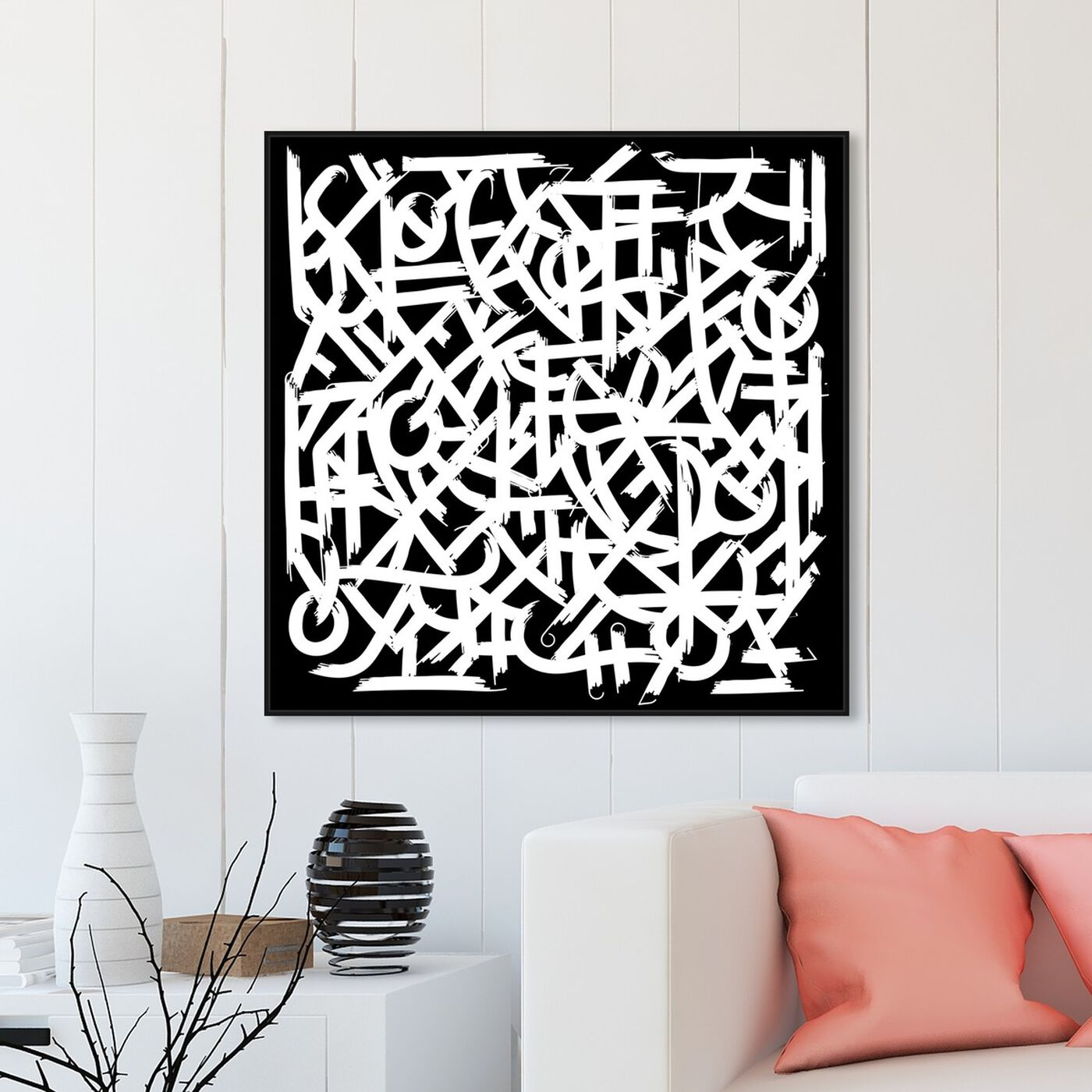 Hanging view of Matt Bentley Hoover - black featuring abstract and shapes art.