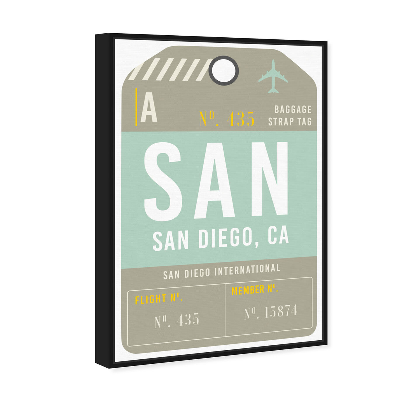 Angled view of San Diego Luggage Tag featuring cities and skylines and united states cities art.
