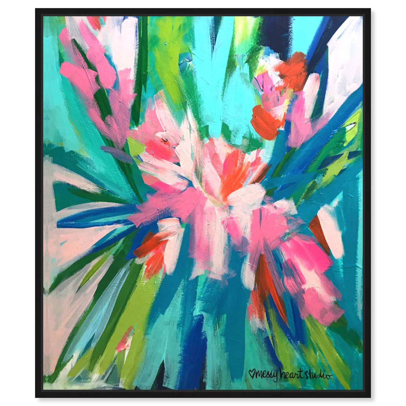 Front view of Lourdes Wackes -Garden Party II featuring abstract and flowers art.