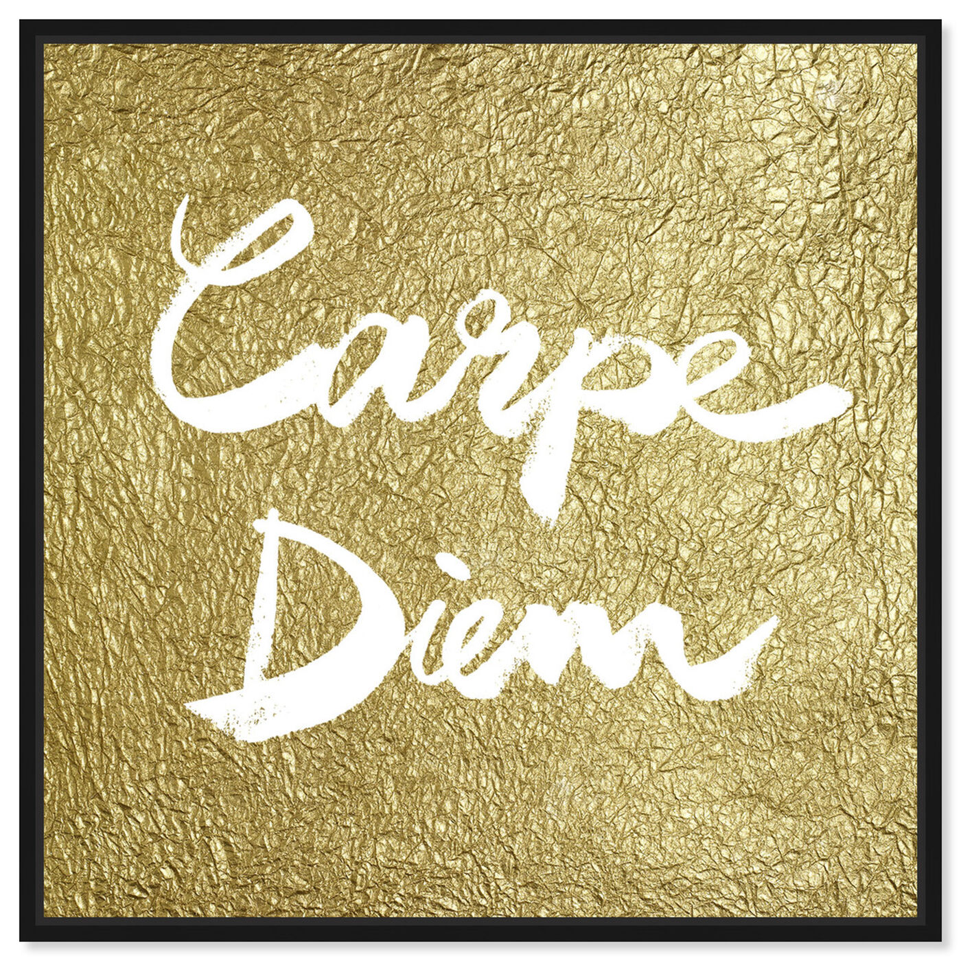 Front view of Carpe Diem Gold featuring typography and quotes and inspirational quotes and sayings art.