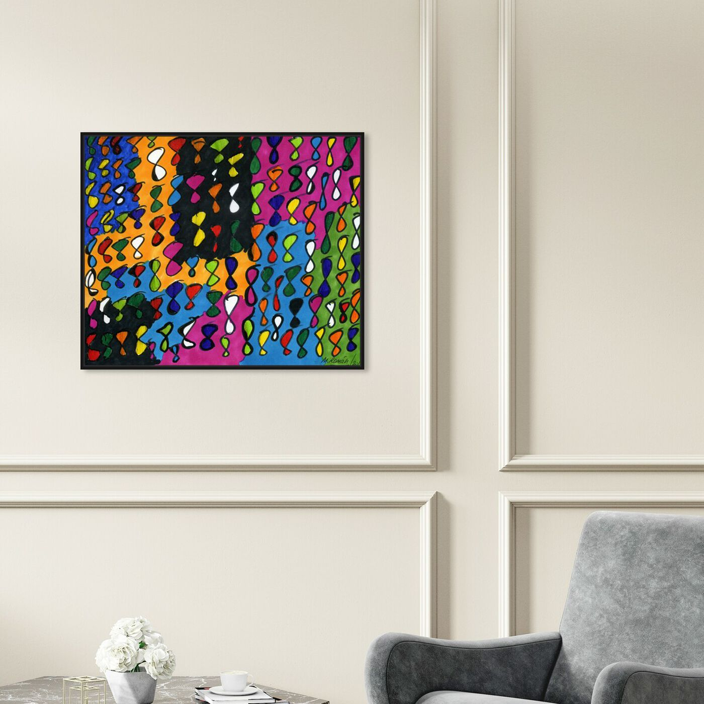 Hanging view of Infinite featuring abstract and shapes art.