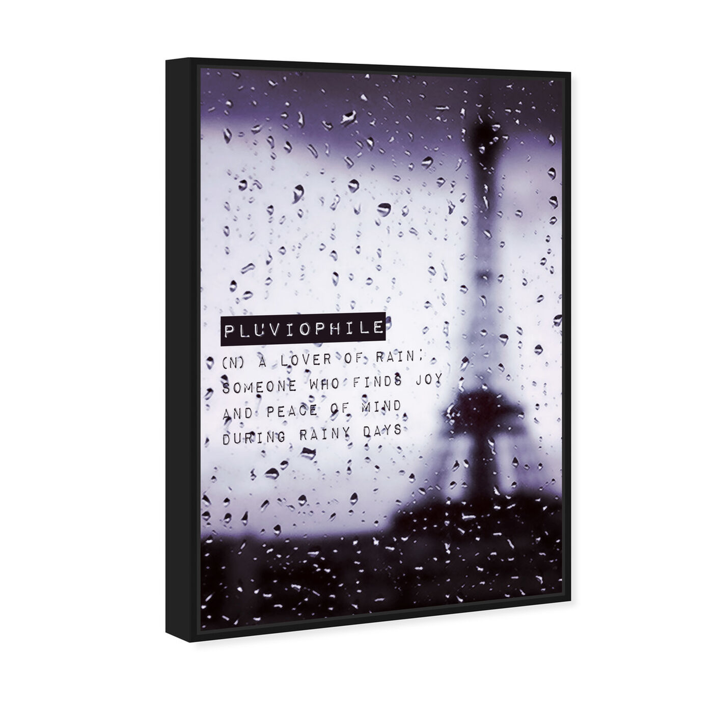 Angled view of Pluviophile featuring typography and quotes and quotes and sayings art.
