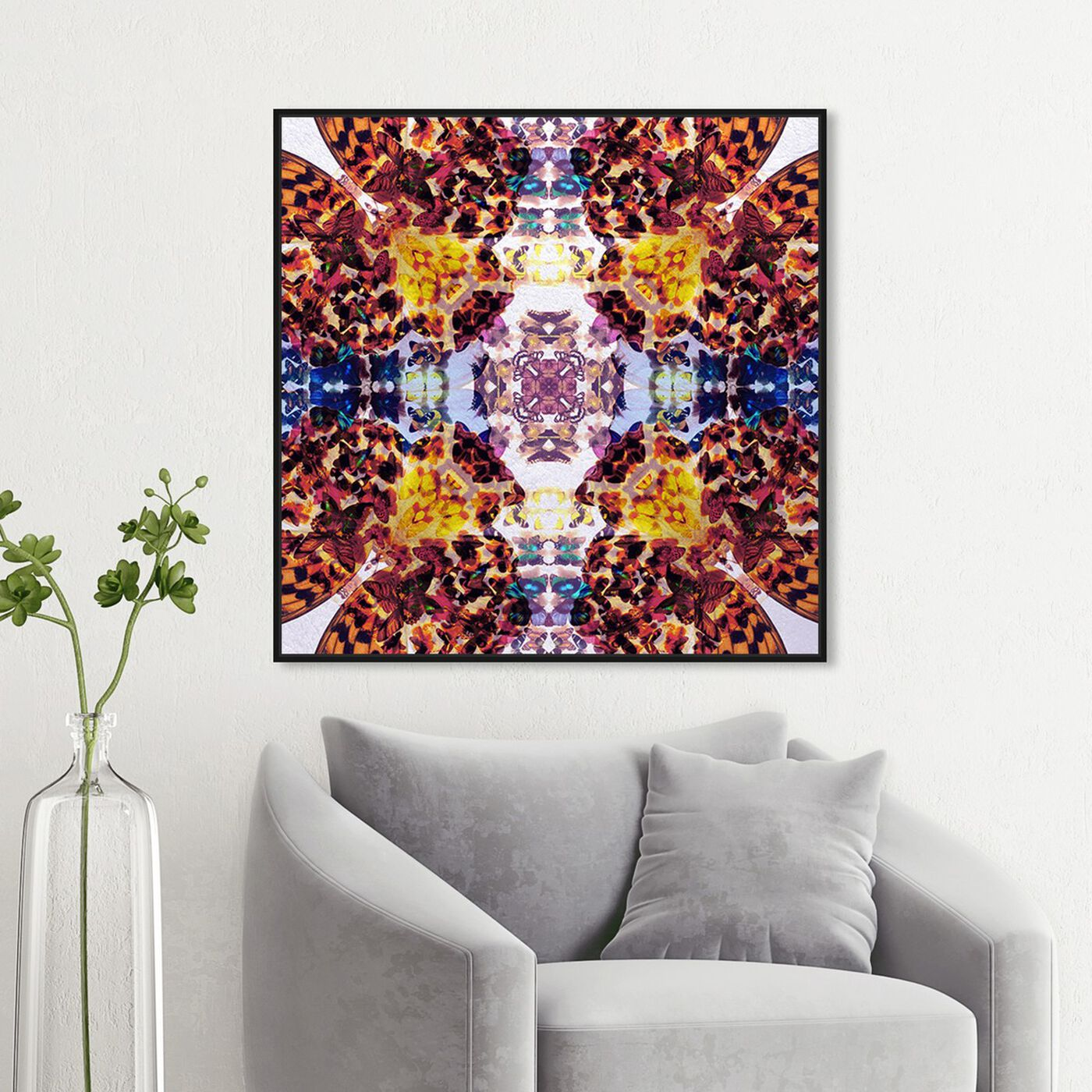Hanging view of Tiger Winged featuring abstract and patterns art.
