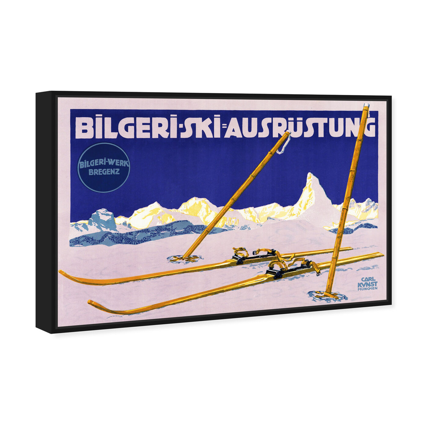 Angled view of Bilgeri Ski featuring sports and teams and skiing art.
