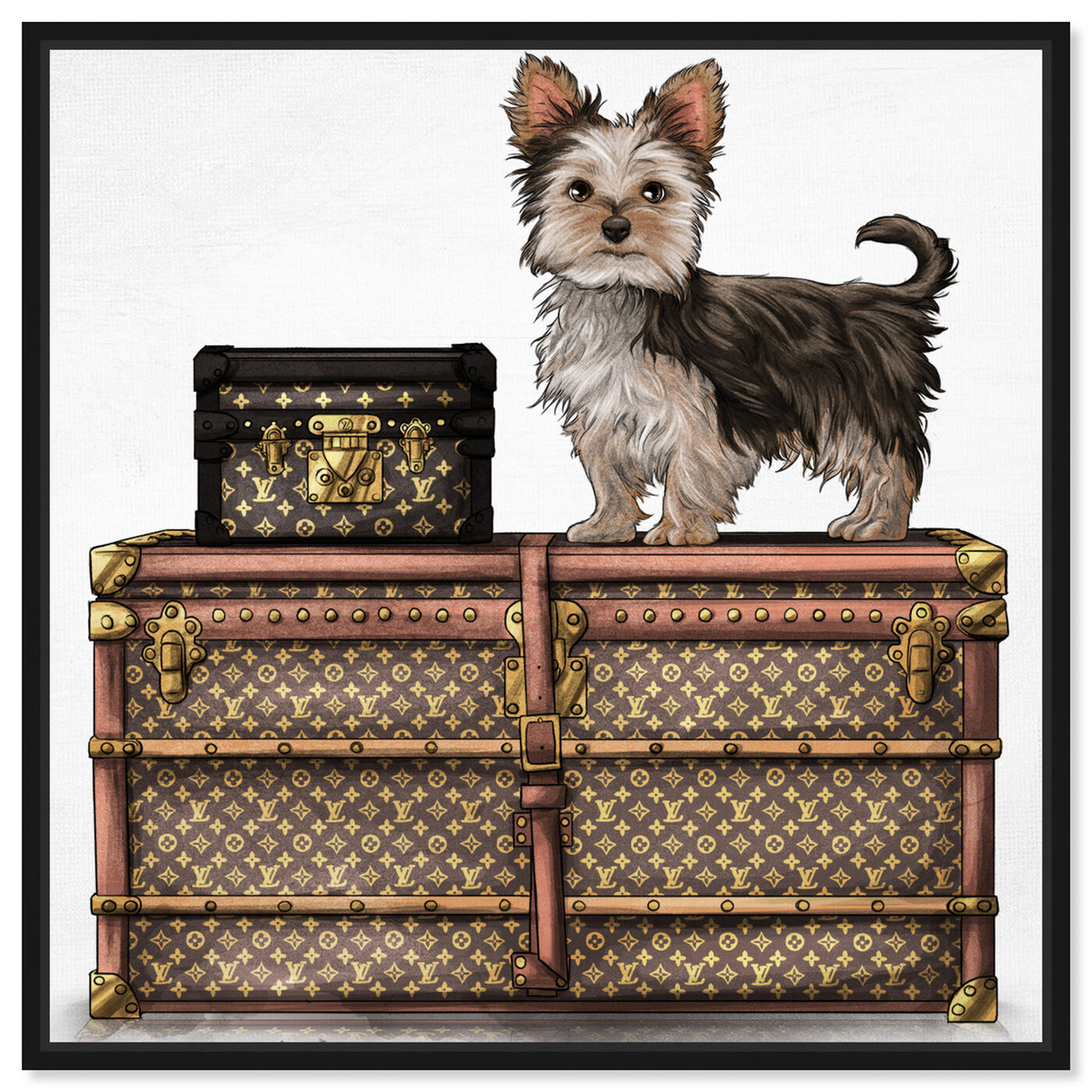 Front view of Travelling Yorkie featuring fashion and glam and travel essentials art.