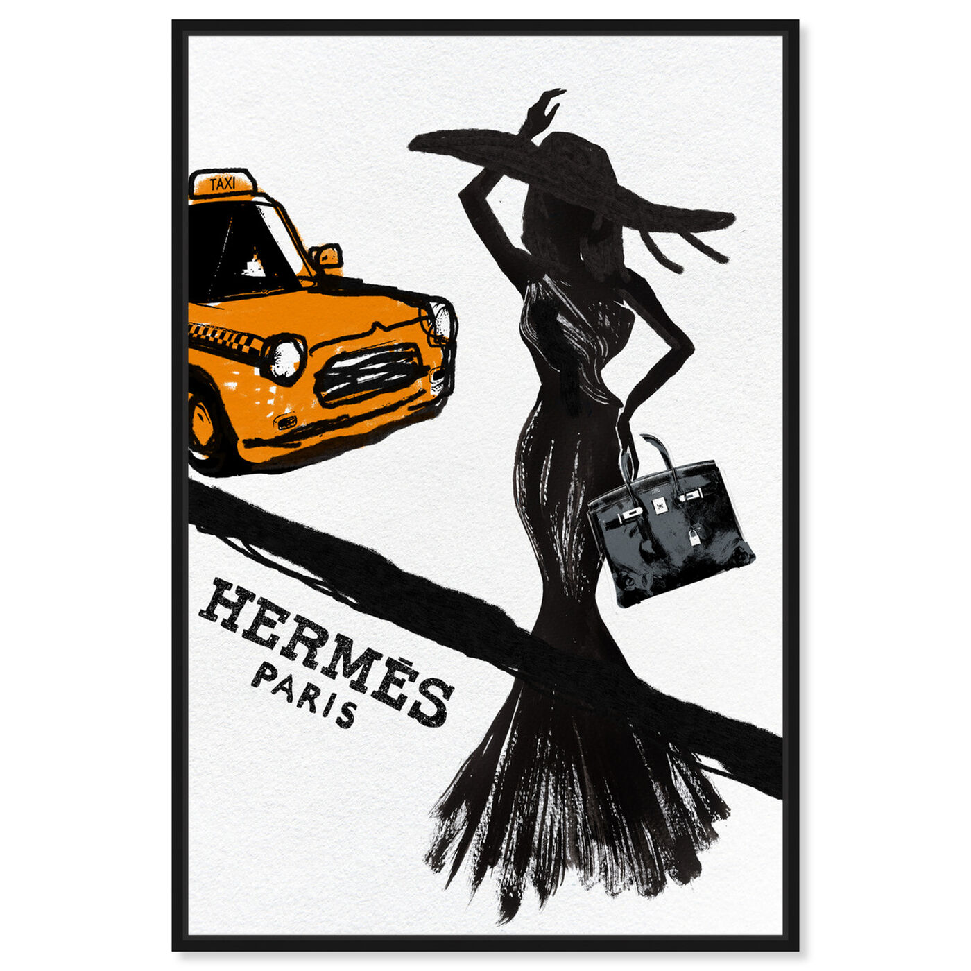 Front view of Orange Taxi featuring fashion and glam and dress art.