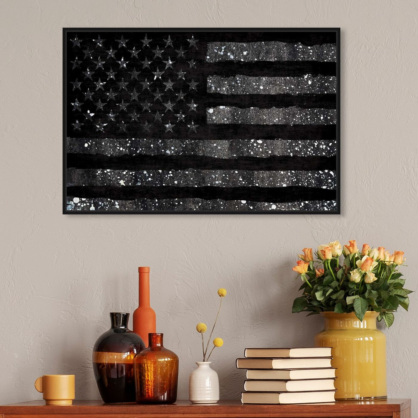 Hanging view of Rocky Freedom Dark featuring americana and patriotic and us flags art.